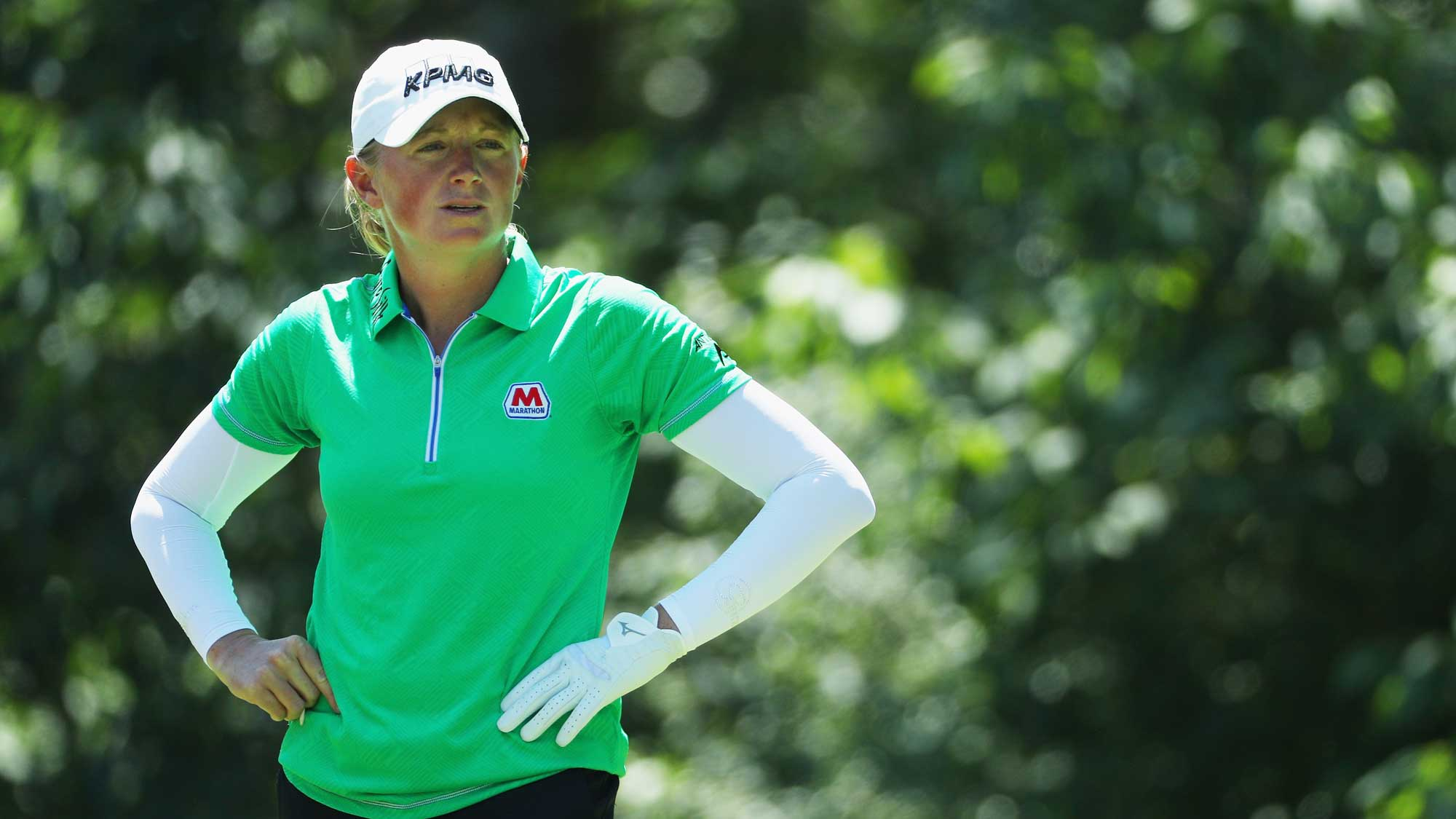 Stacy Lewis waits in a fairway during the final round of the 2017 KPMG Women's PGA Championship