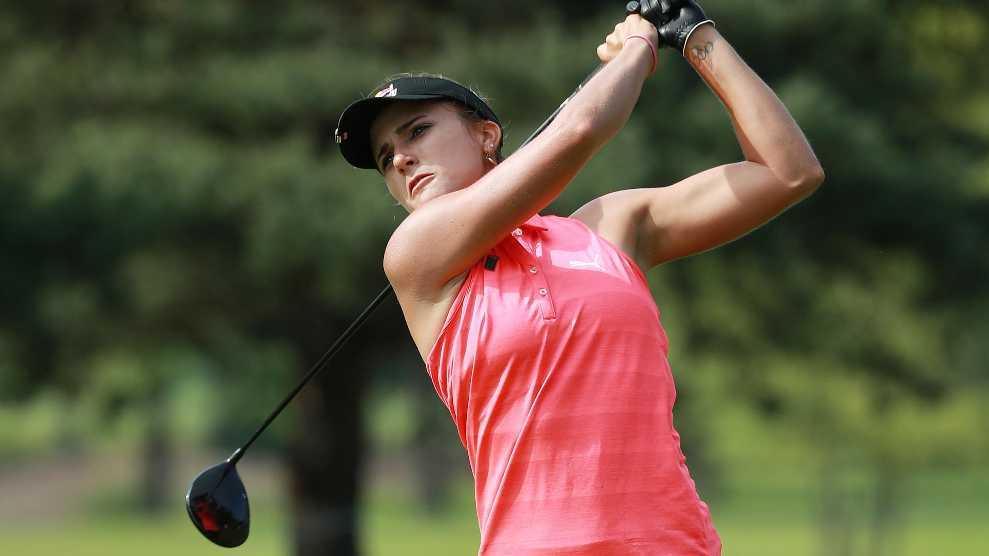 Lexi Thompson hits her tee shot on the fifth hole during the first round of the KPMG Women's PGA Championship