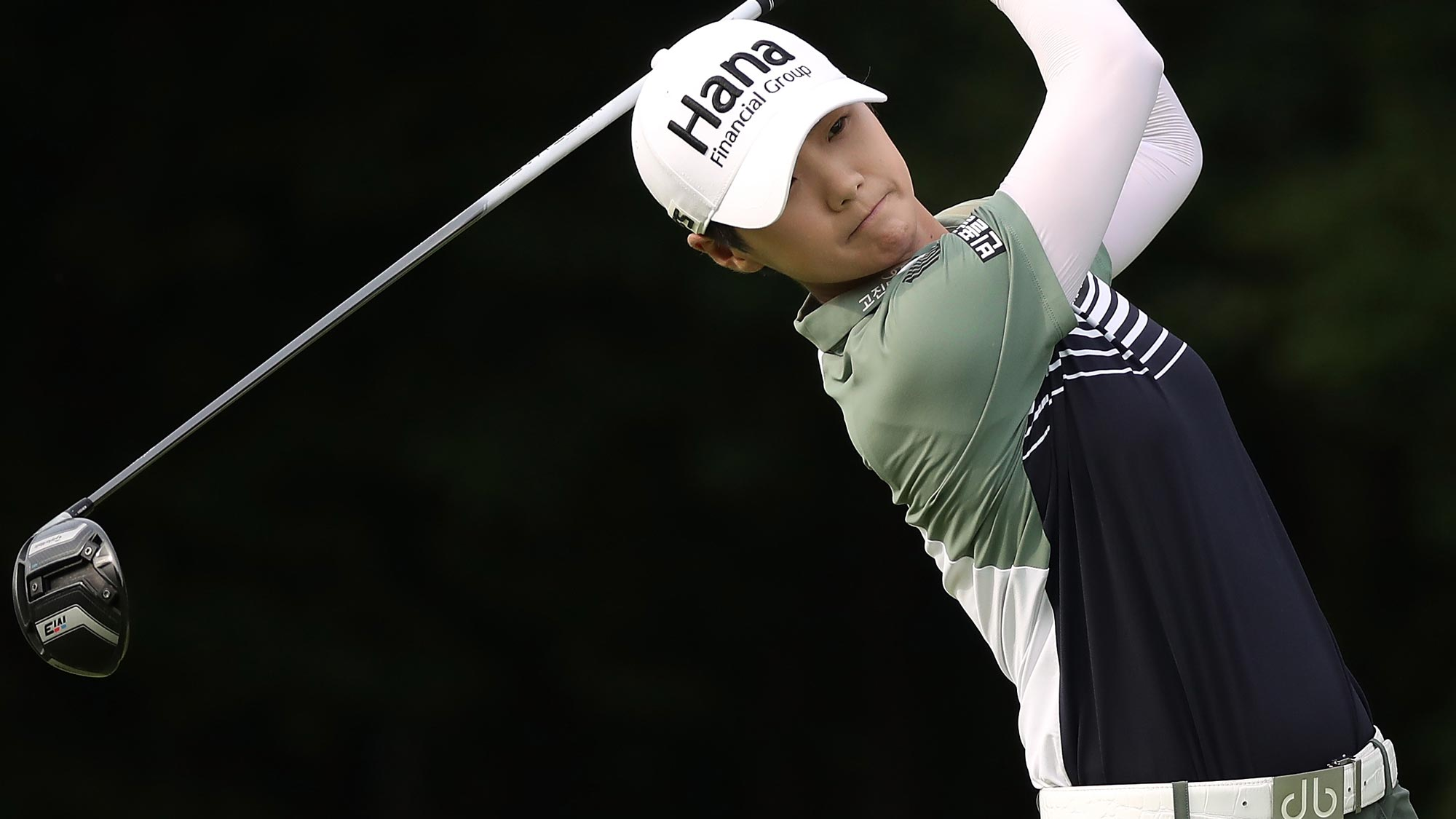 Sung Hyun Park of Korea watches her tee shot on the 15th hole during the first round of the 2018 KPMG Women's PGA Championship