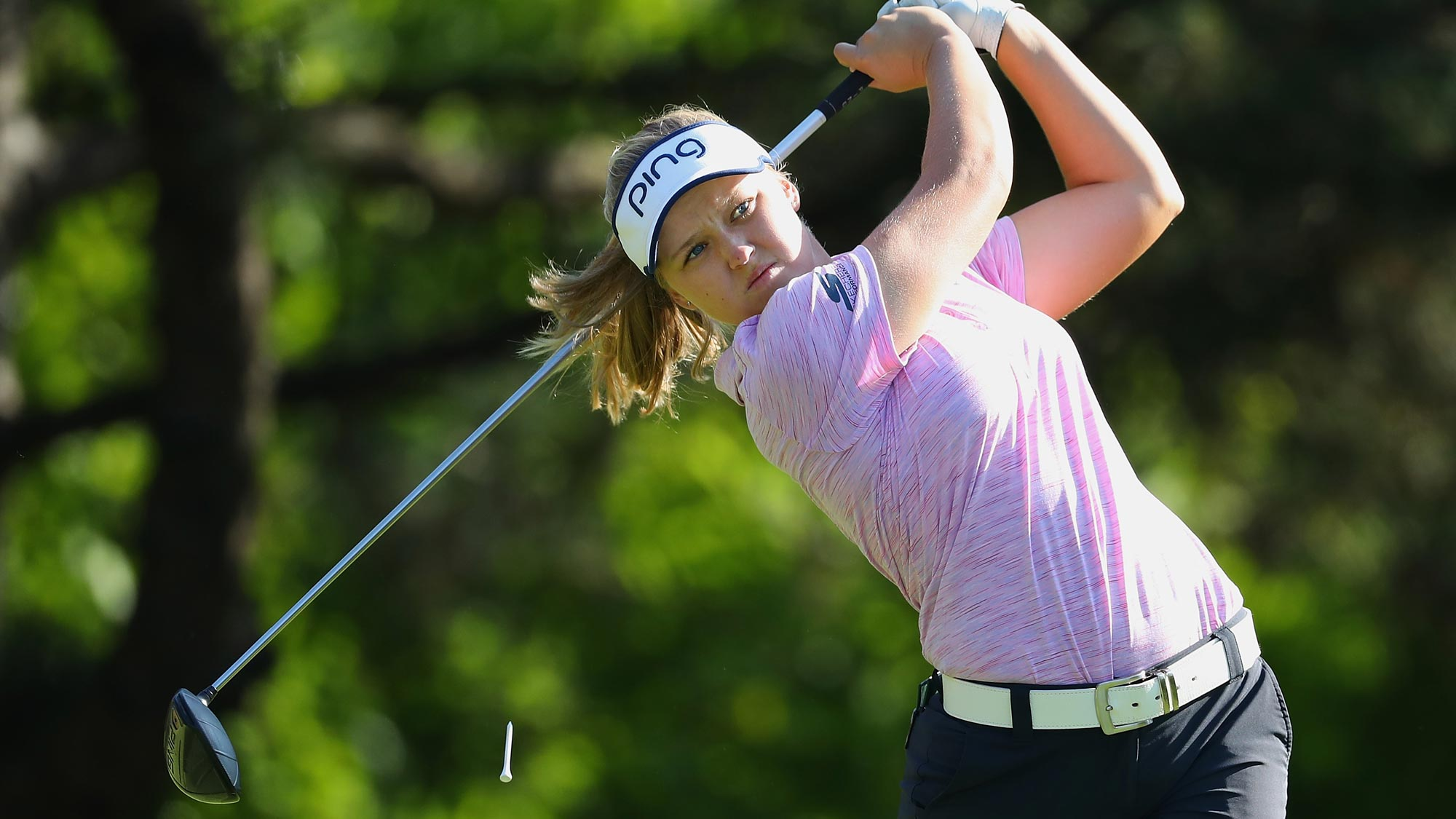 Brooke Henderson watches her tee shot on the second hole during the second round of the 2018 KPMG Women's PGA Championship