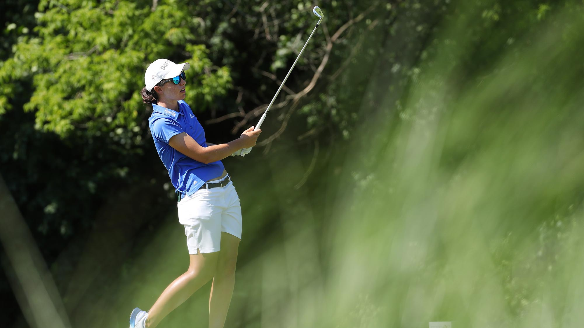 Carlota Ciganda of Spain watches her tee shot on the 17th hole during the second round of the 2018 KPMG PGA Championship