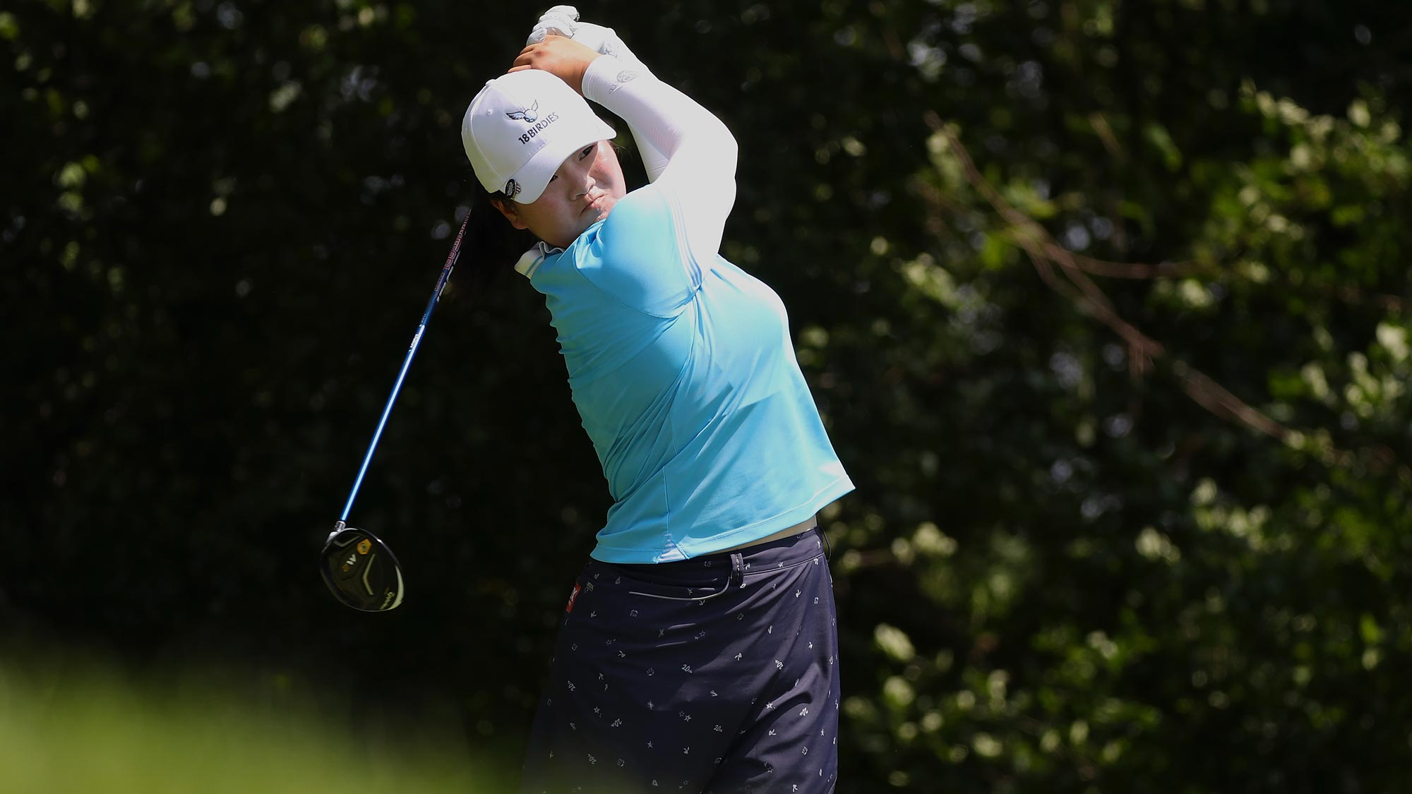 Angel Yin hits her tee shot on the second hole during the third round of the KPMG Women's PGA Championship