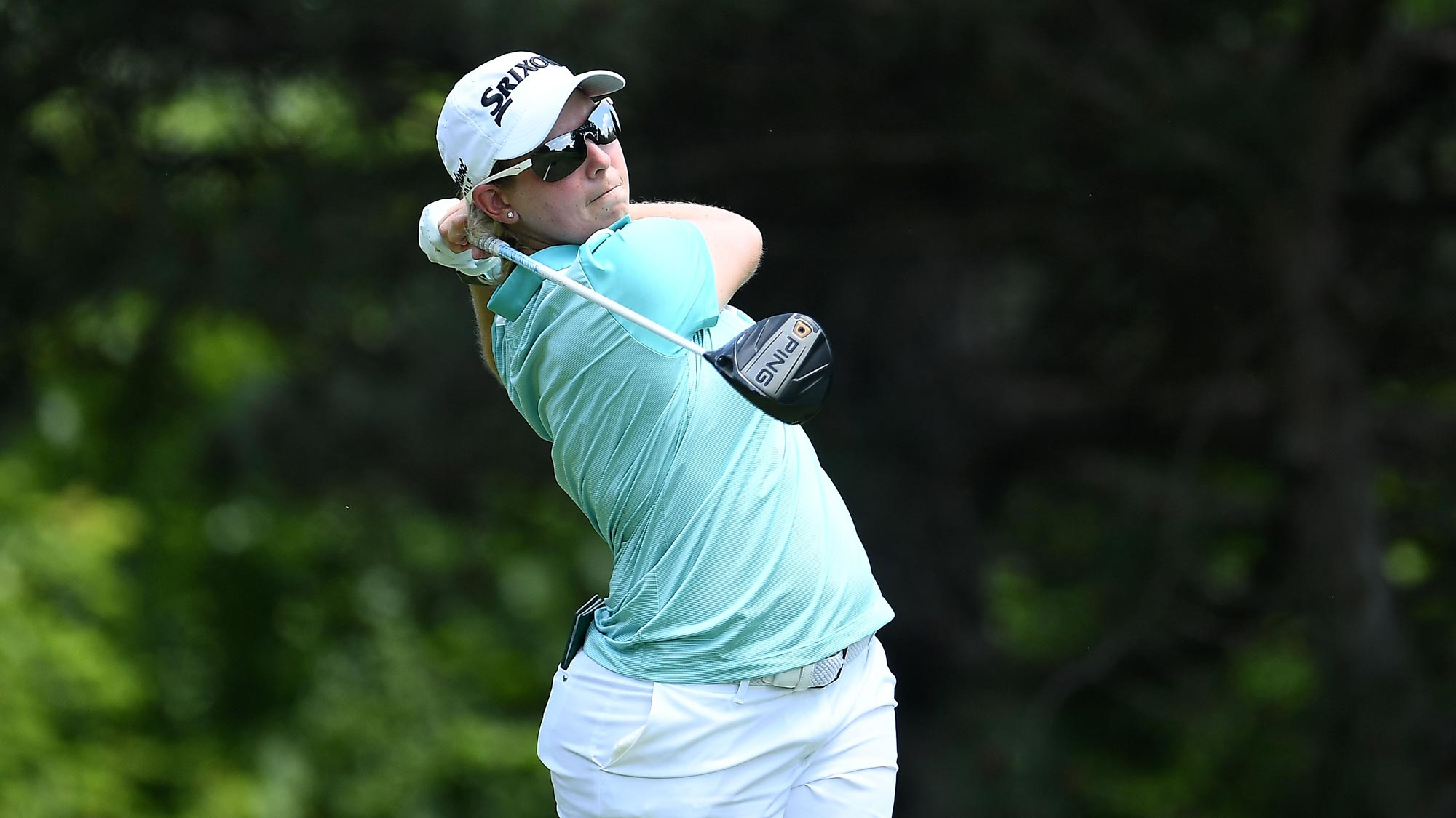 Ashleigh Buhai of South Africa hits her tee shot on the second hole during the third round of the KPMG Women's PGA Championship