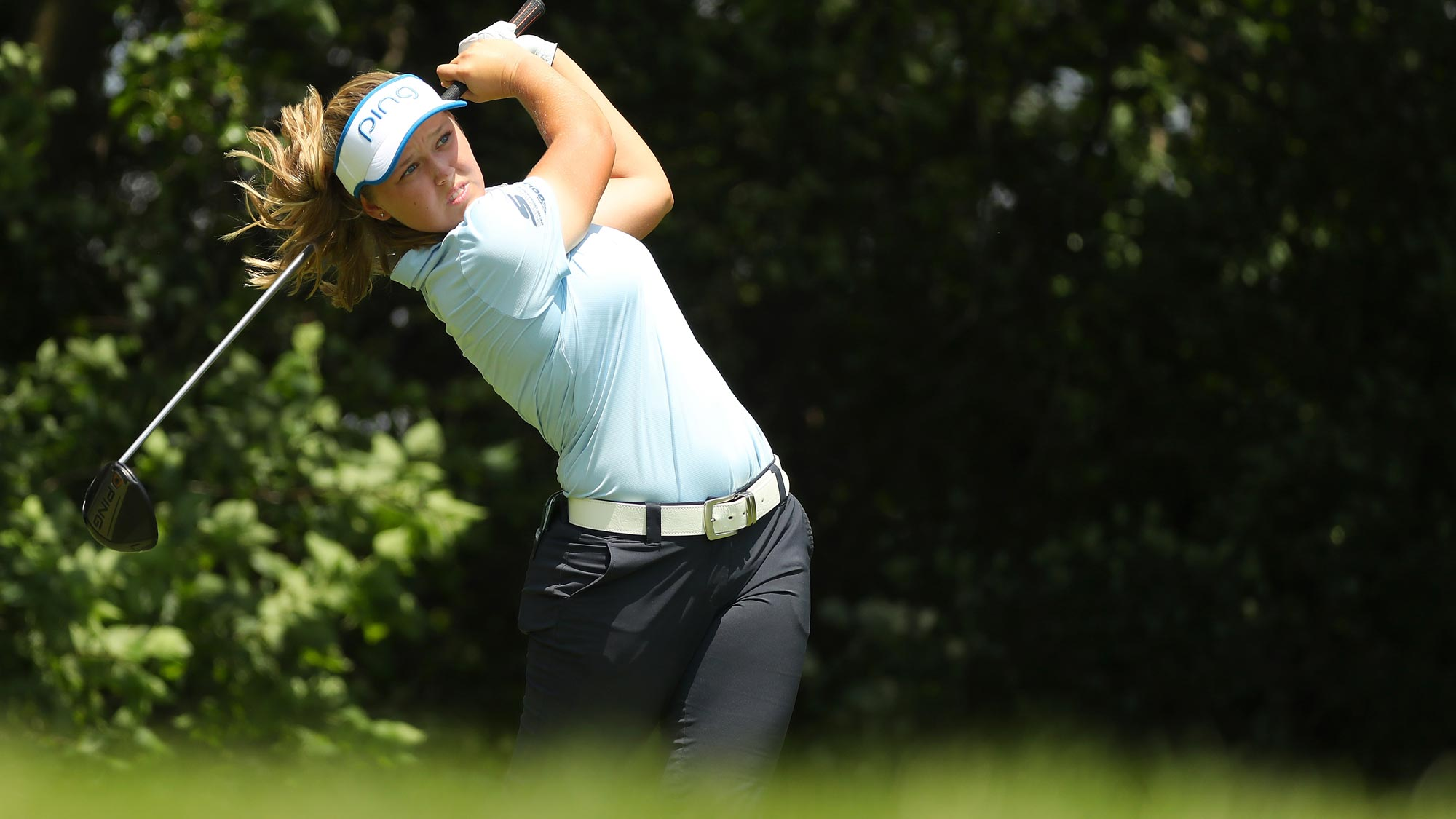 Brooke Henderson watches her drive on the fourth hole during the third round of the 2018 KPMG Women's PGA Championship