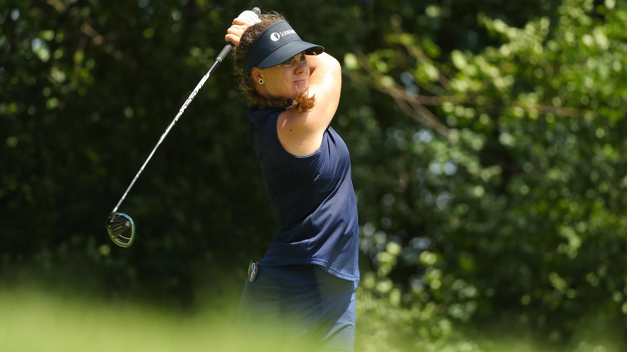 Dani Holmqvist of Sweden watches her drive on the forth hole during the third round of the 2018 KPMG Women's PGA Championship