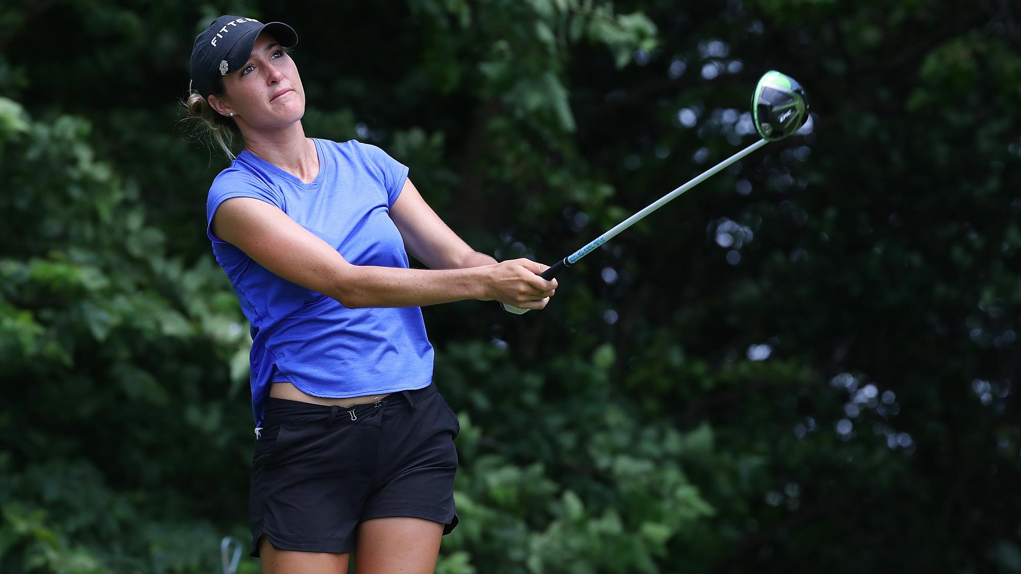 Jaye Marie Green watches her drive on the fourth hole during the third round of the 2018 KPMG Women's PGA Championship