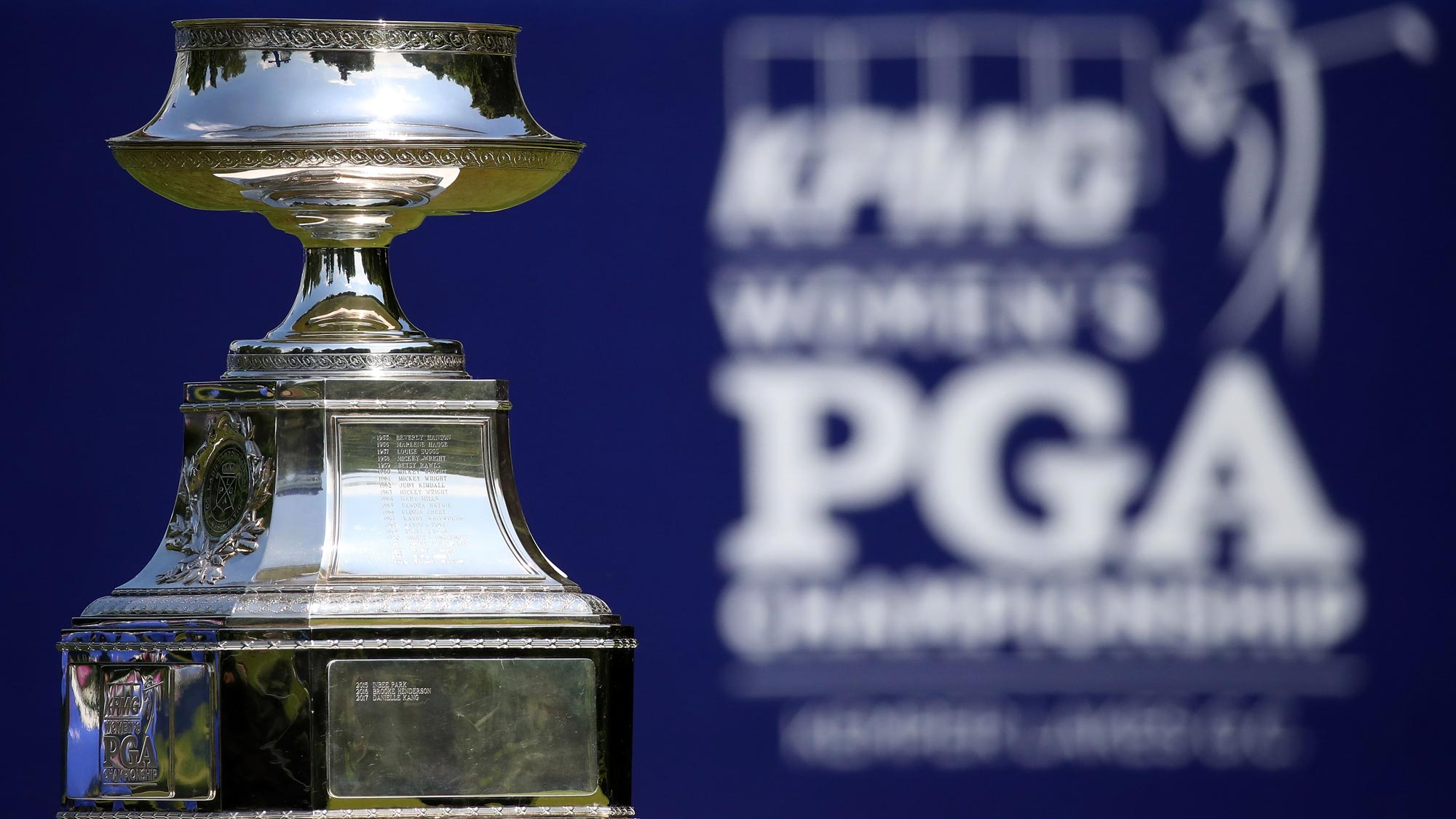 A detailed view of the Championship trophy on the first tee during the final round of the KPMG Women's PGA Championship