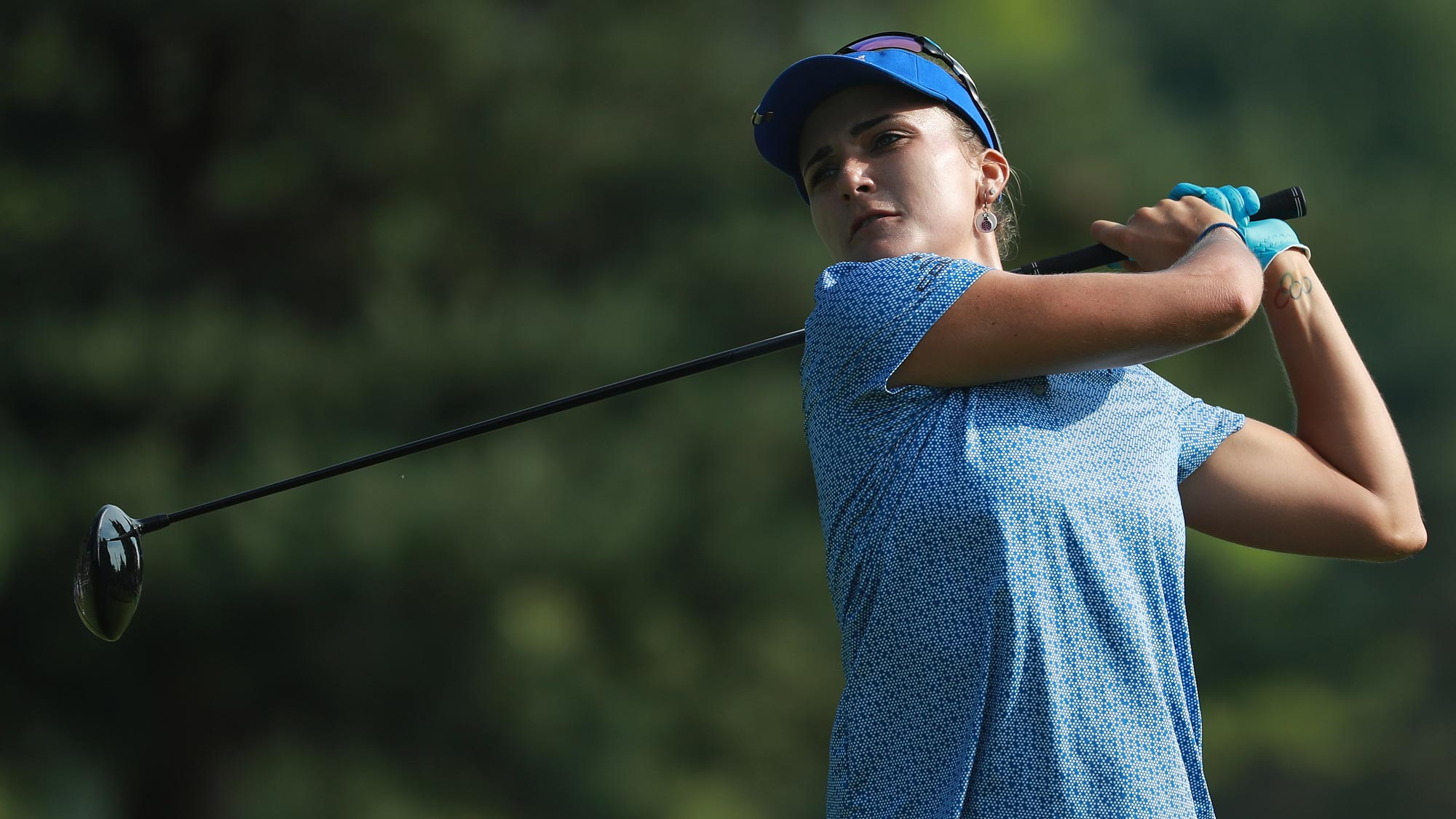 Lexi Thompson hits her tee shot on the fifth hole during the final round of the KPMG Women's PGA Championship