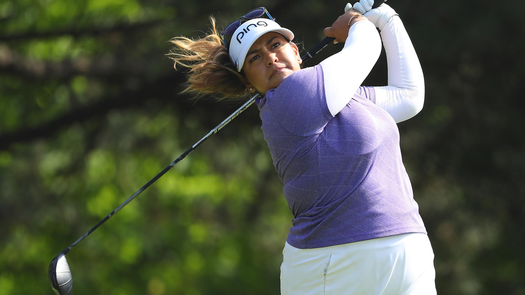 Lizette Salas hits her drive on the second hole during the final round of the 2018 KPMG Women's PGA Championship