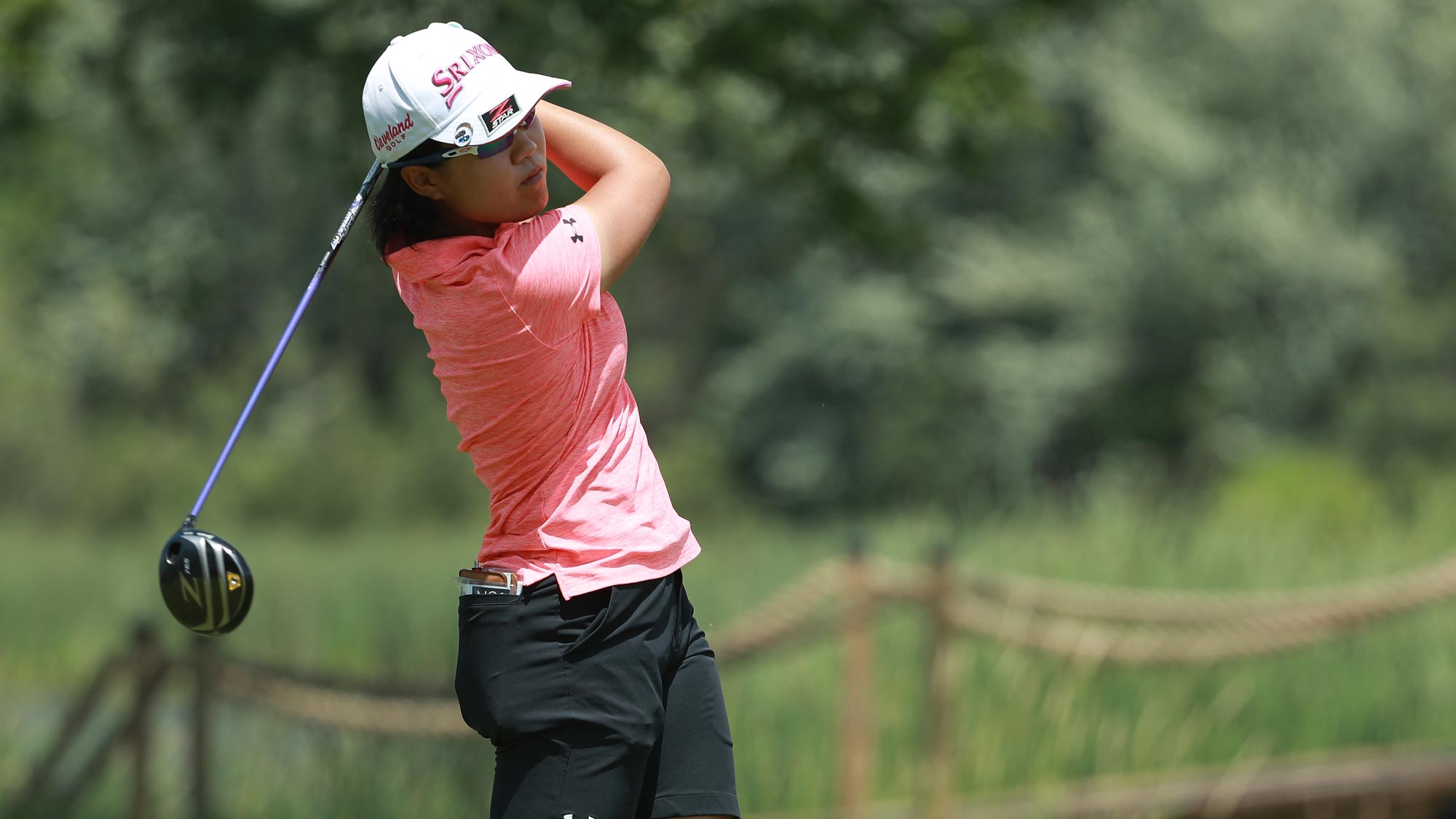 Nasa Hataoka of Japan hits her tee shot on the 18th hole during the final round of the KPMG Women's PGA Championship