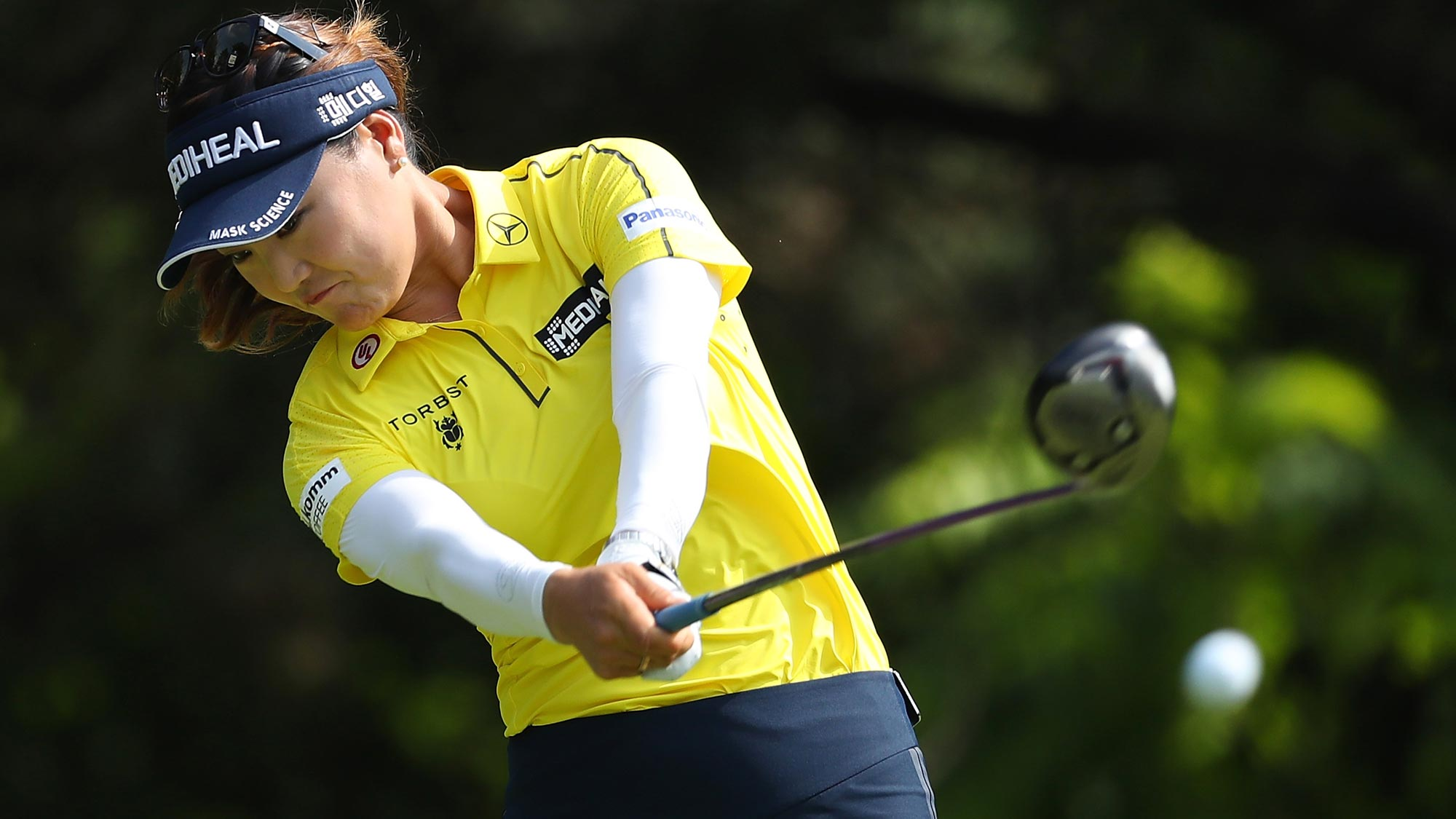 So Yeon Ryu of Korea hits her drive on the second hole during the final round of the 2018 KPMG Women's PGA Championship