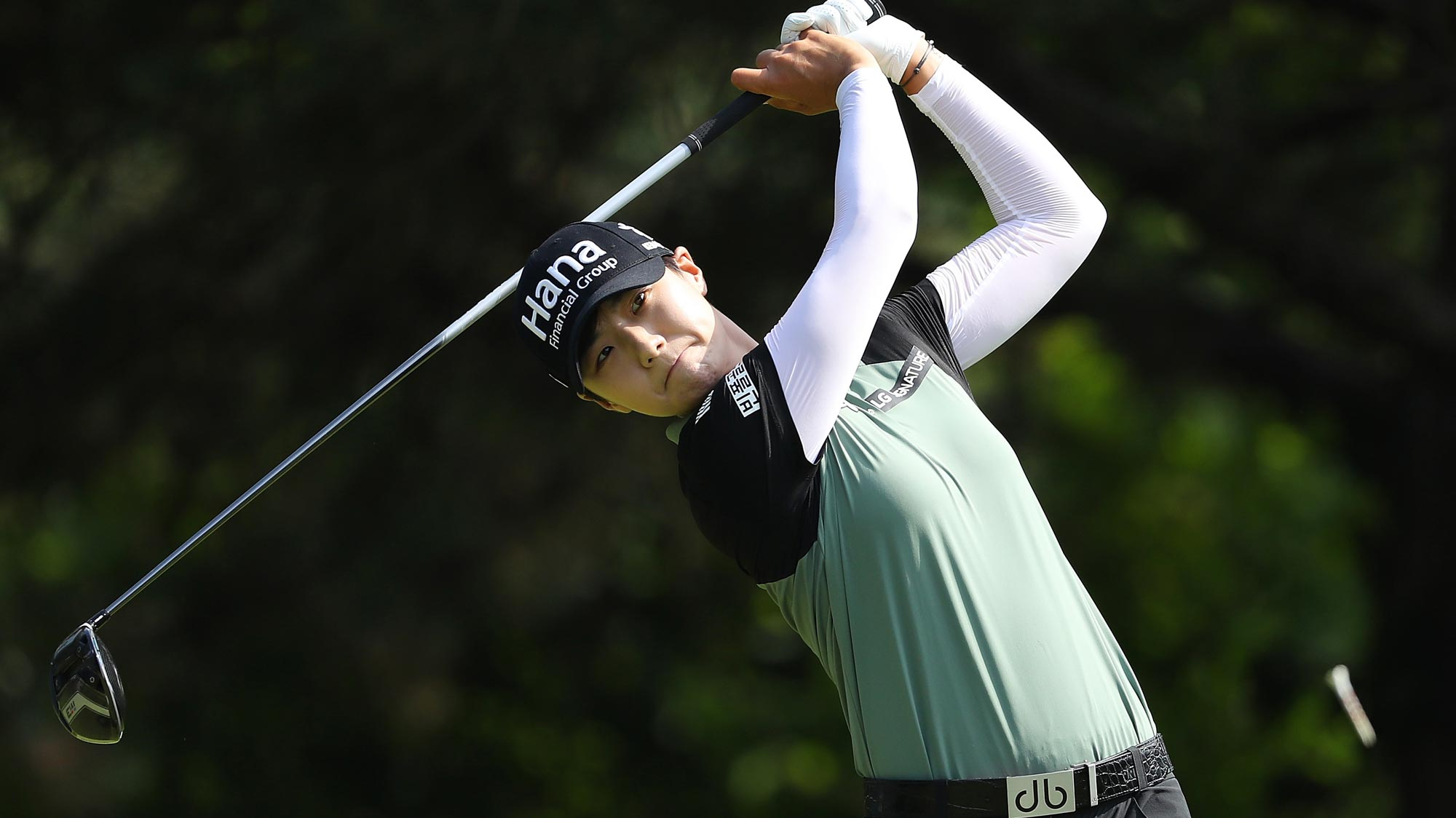 Sung Hyun Park of Korea hits her drive on the second hole during the final round of the 2018 KPMG Women's PGA Championship
