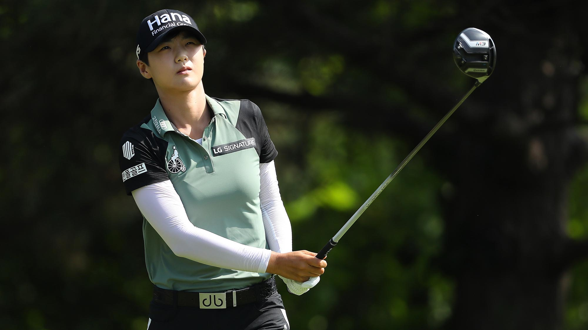 Sung Hyun Park of Korea watches her drive on the second hole during the final round of the 2018 KPMG Women's PGA Championship