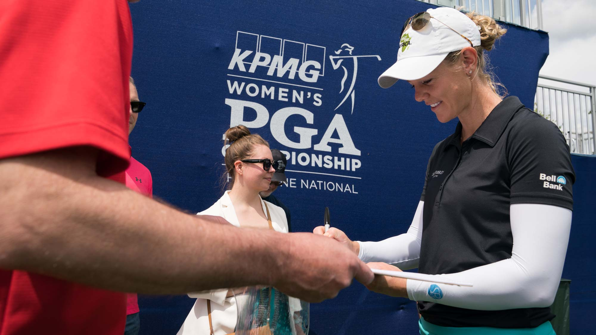 Amy Olson signs autographs during the practice round for the 65th KPMG Women's PGA Championship