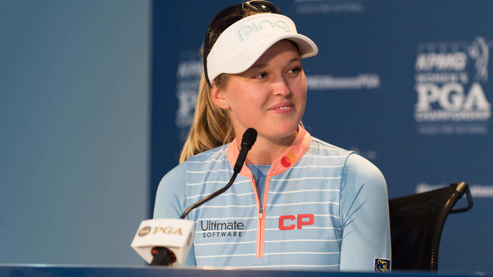 Brooke Henderson talks with the media ahead of the 2019 KPMG Women's PGA Championship