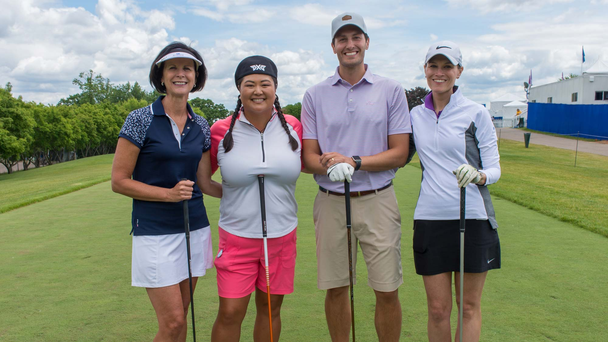 Christina Kim, Debra Broek, Veronica Romano and Blake Hoffarber during the Pro-Am Tournament for the 65th KPMG Women's PGA Championship held at Hazeltine National Golf Club