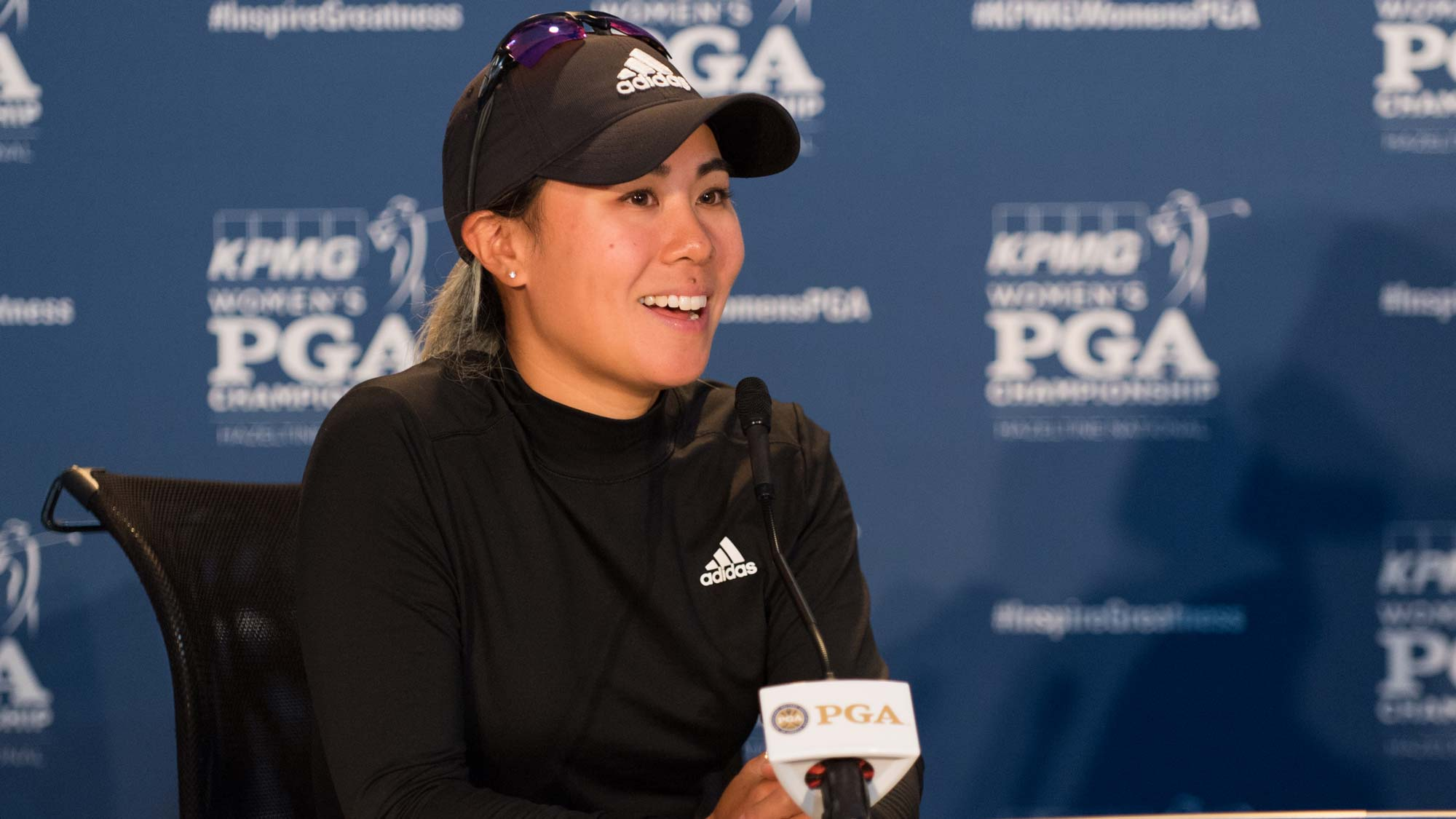 Danielle Kang talks with the media ahead of the 2019 KPMG Women's PGA Championship