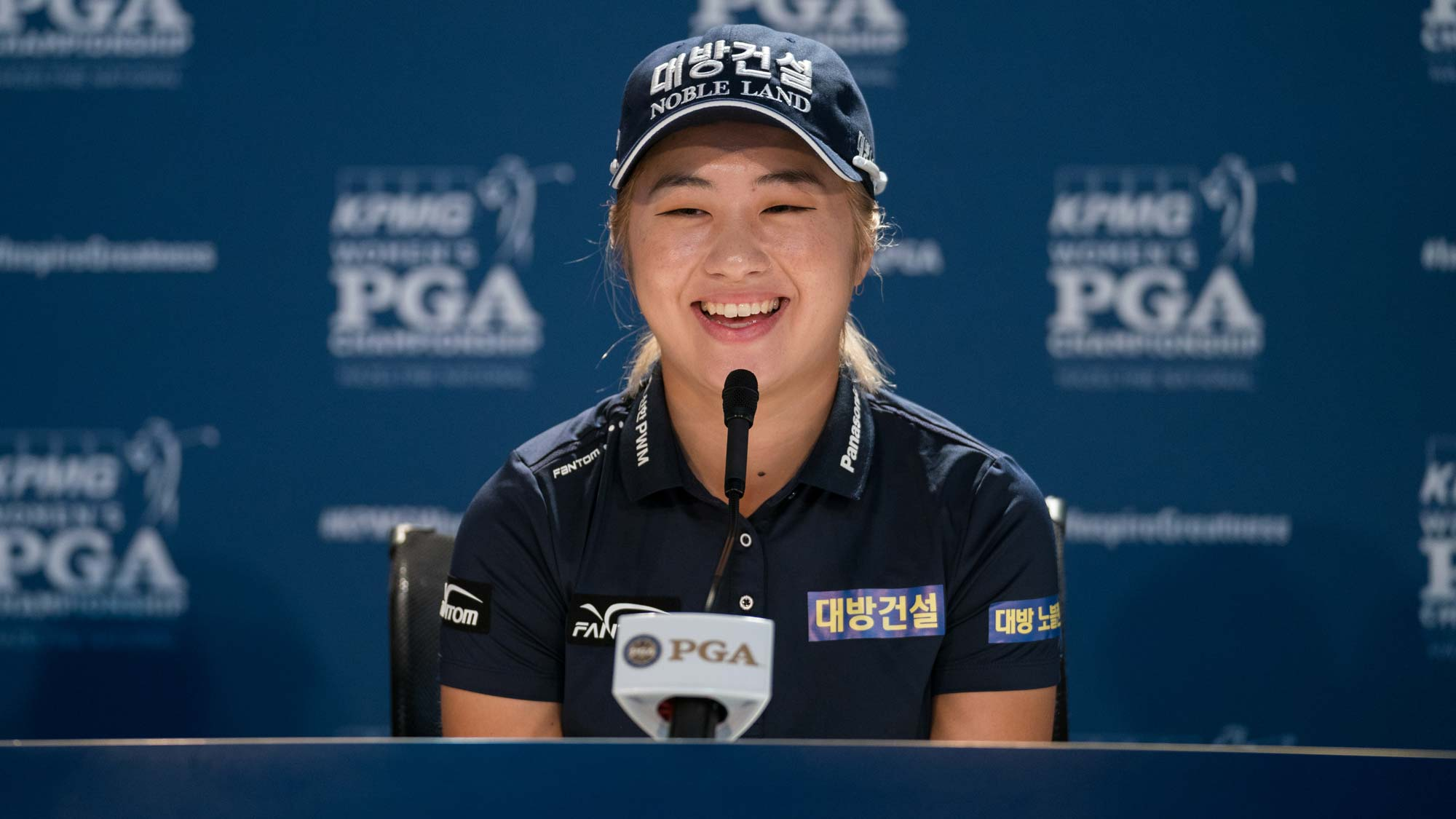 Jeongeun Lee6 of the Republic of Korea speaks at a press conference during the practice round for the 65th KPMG Women's PGA Championship
