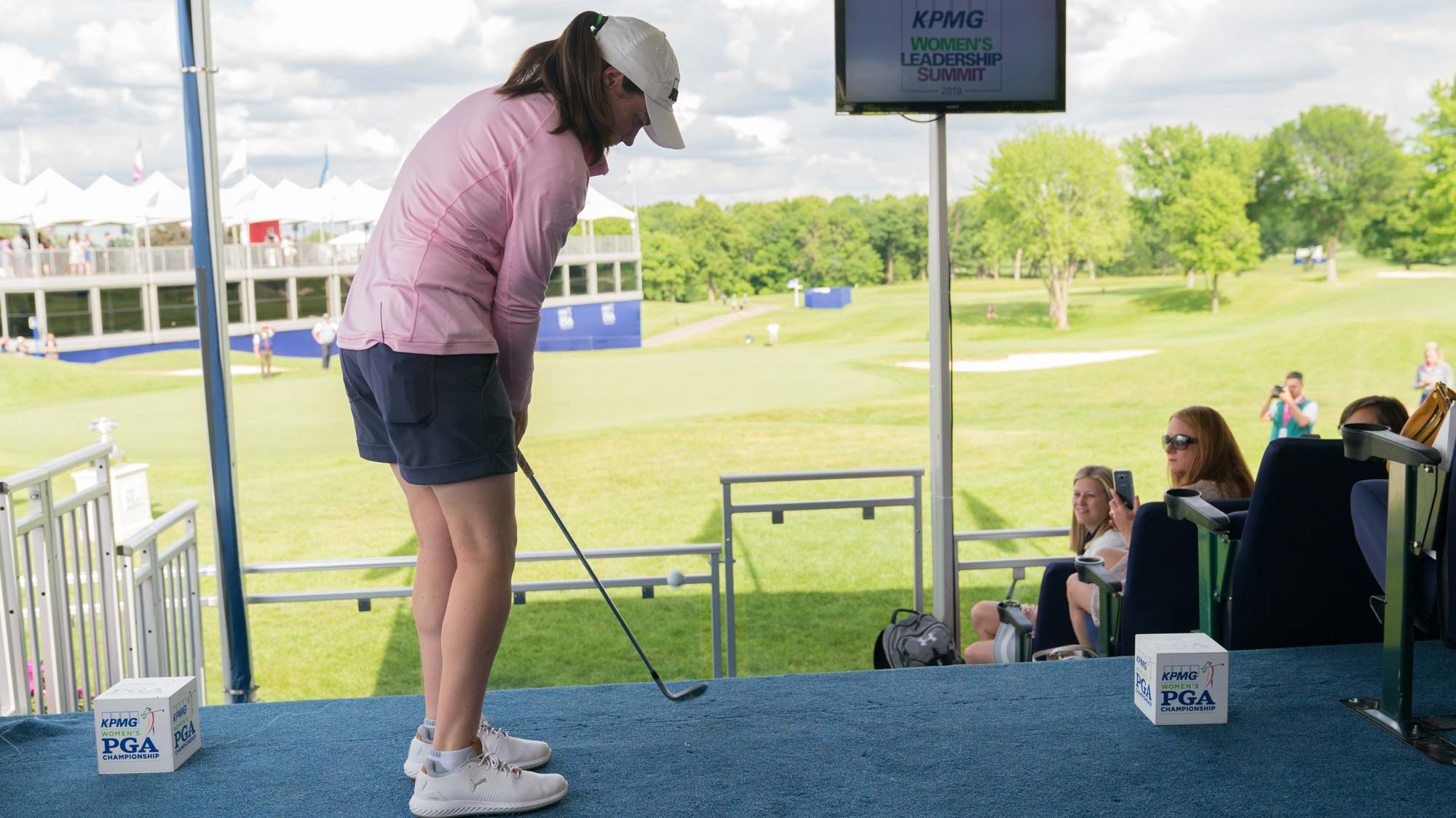 Leona Maguire hits her shot for the Viewing Suite Shot during the KPMG Player Showcase for the 65th KPMG Women's PGA Championship