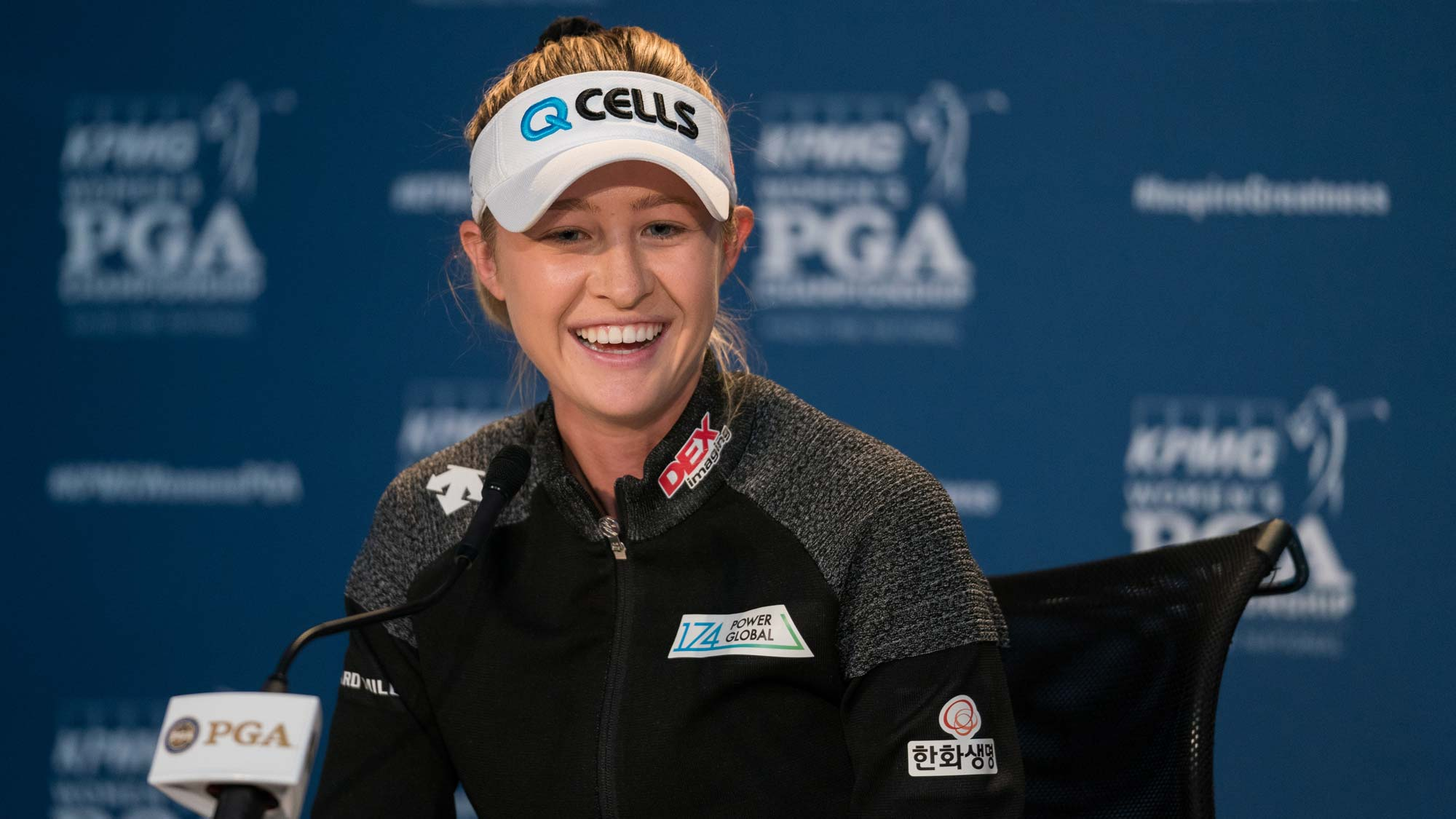Nelly Korda speaks at a press conference during the practice round for the 65th KPMG Women's PGA Championship