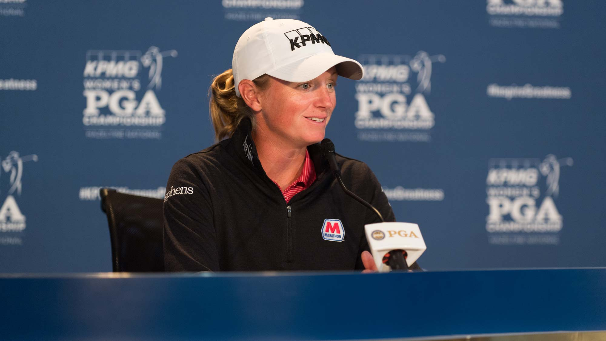 Stacy Lewis talks with the media ahead of the 2019 KPMG Women's PGA Championship