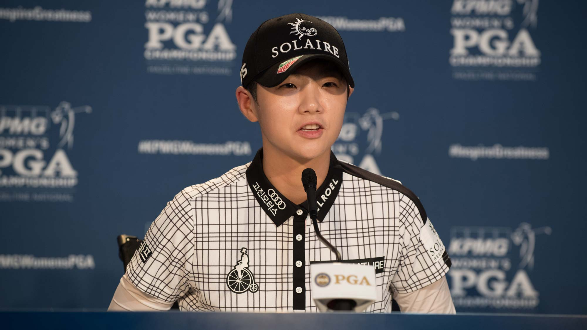 Sung Hyun Park of the Republic of Korea speaks at a press conference during the practice round for the 65th KPMG Women's PGA Championship