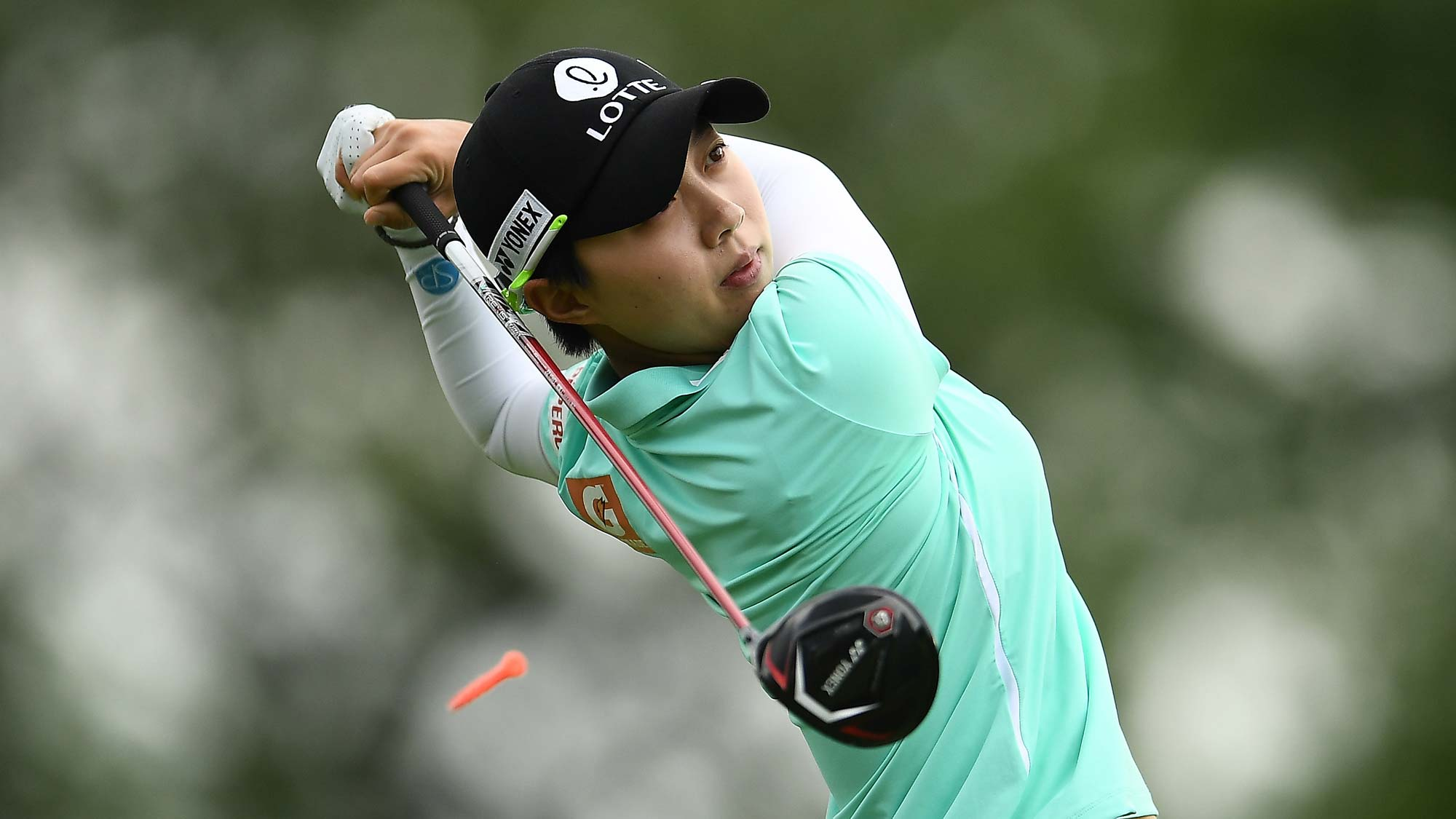 Hyo Joo Kim of Korea hits her tee shot on the third hole during the first round of the KPMG PGA Championship