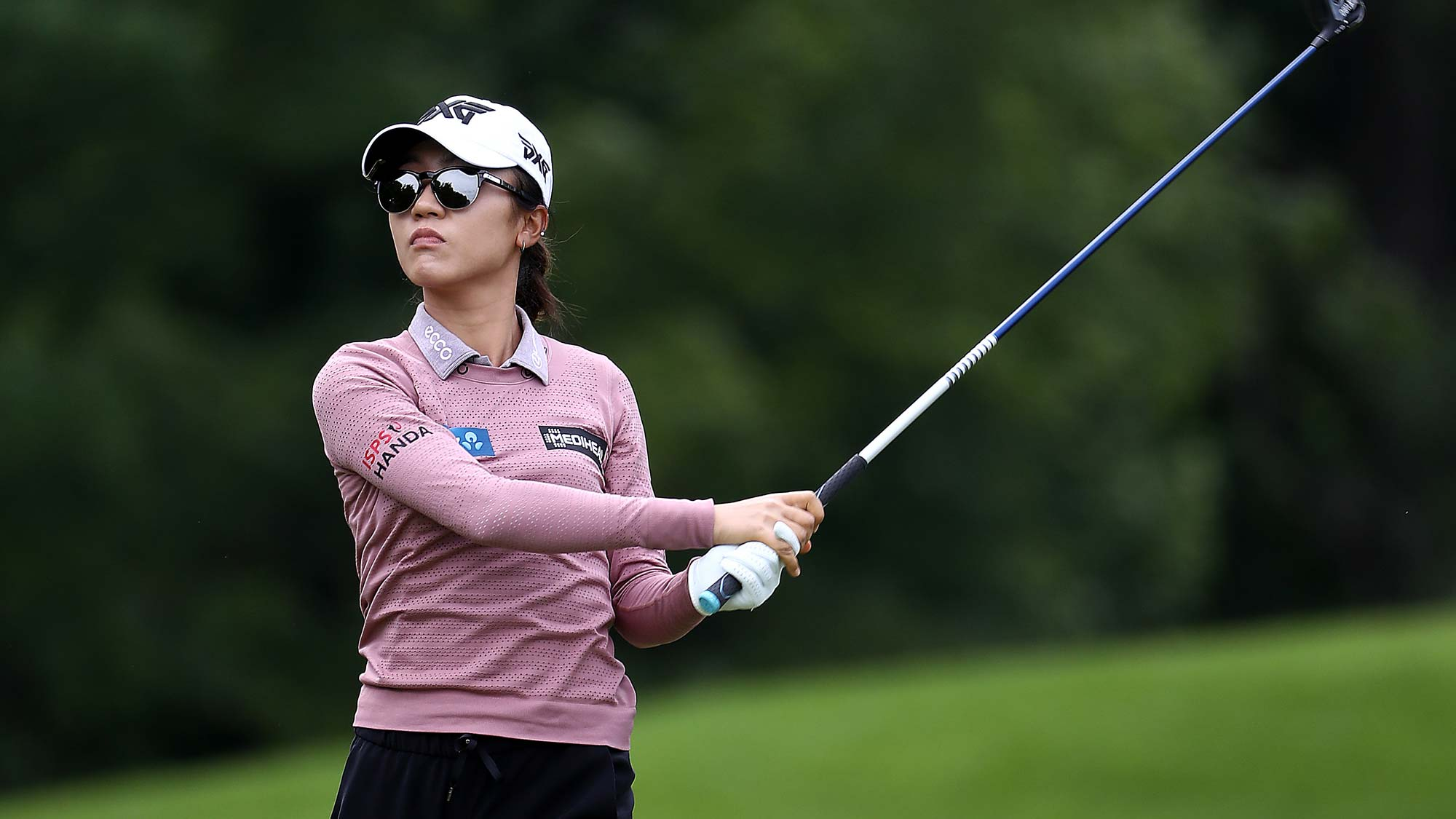 Lydia Ko of New Zealand hits her first shot on the 15th hole during the first round of the KPMG Women's PGA Championship