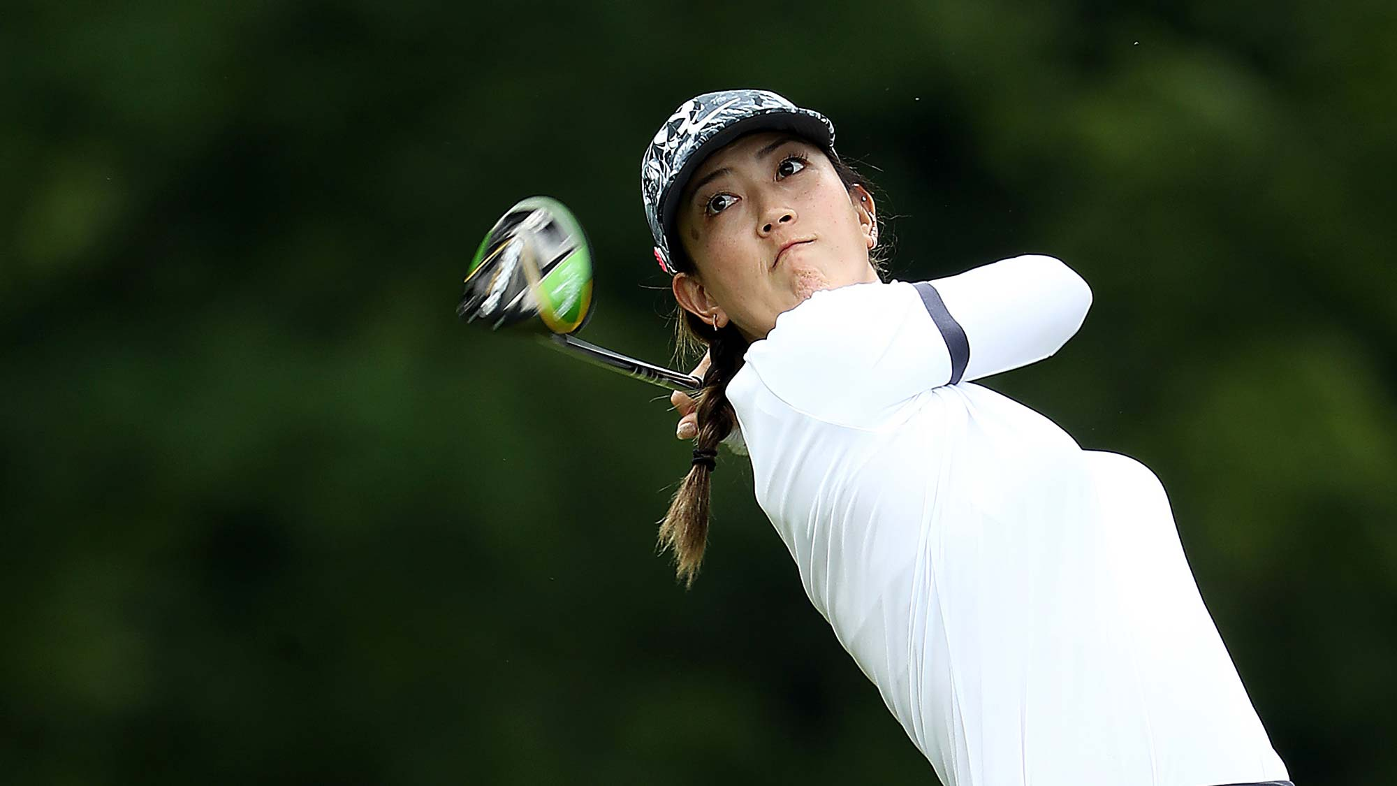 Michelle Wie hits her first shot on the 15th hole during the first round of the KPMG Women's PGA Championship