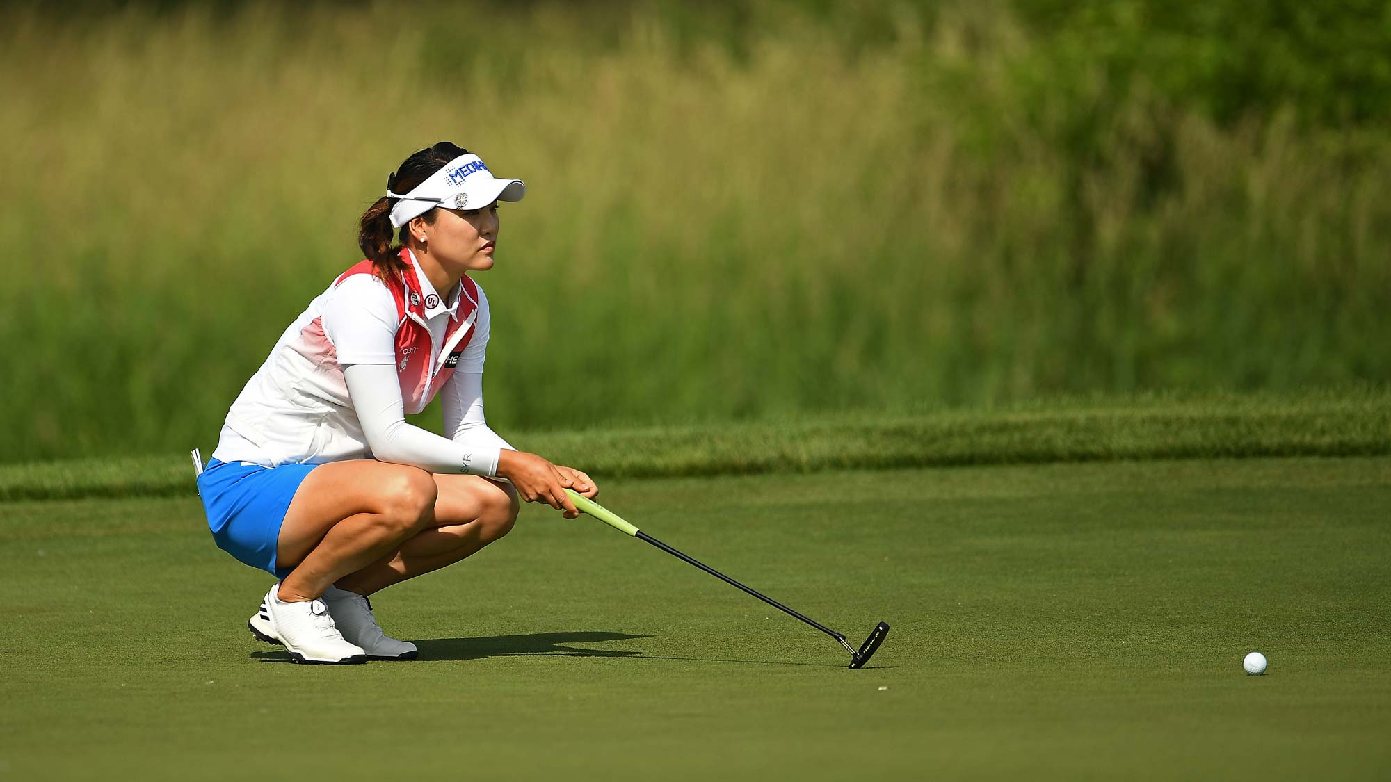 So Yeon Ryu of Korea lines up a putt on the 10th green during the first round of the KPMG PGA Championship