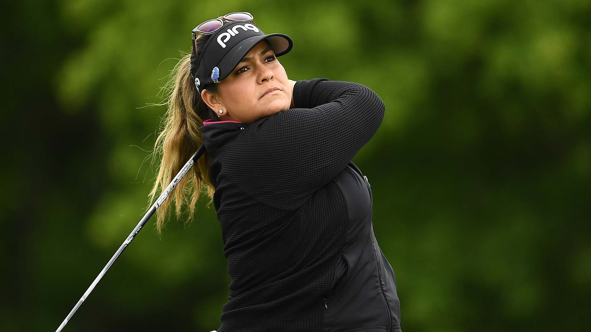 Lizette Salas hits her tee shot on the 10th hole during the second round of the KPMG PGA Championship