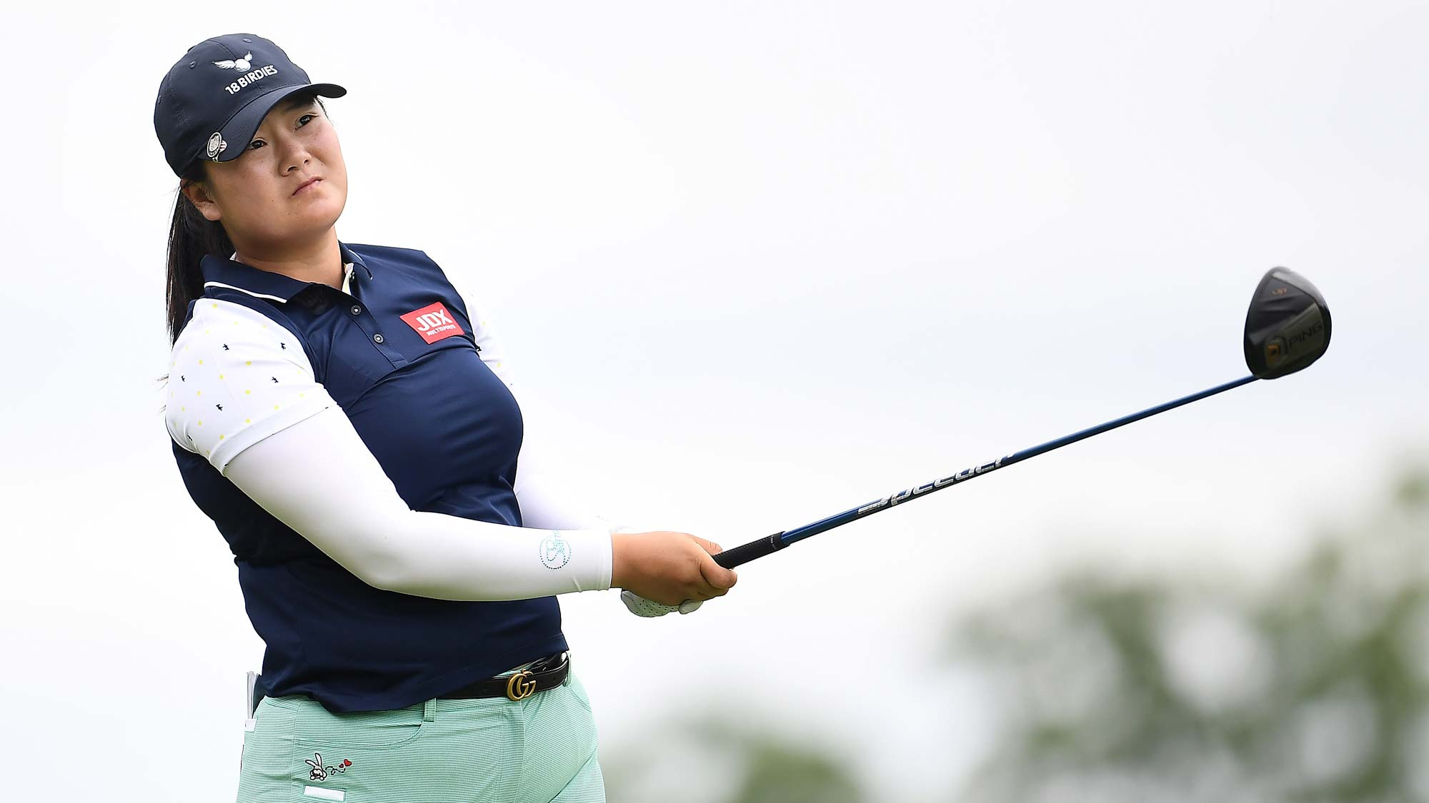 Angel Yin hits her tee shot on the third hole during the third round of the KPMG PGA Championship