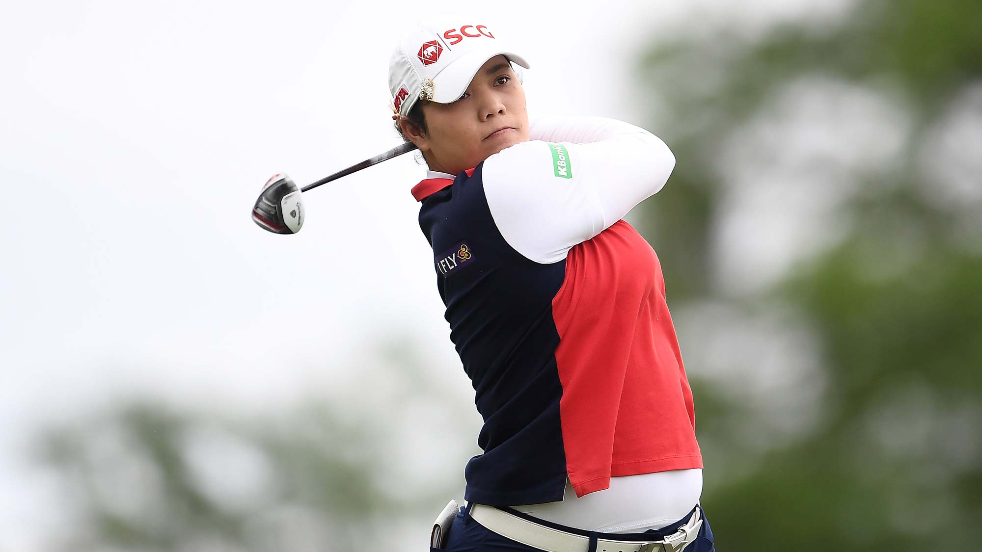 Ariya Jutanugarn of Thailand hits her tee shot on the third hole during the third round of the KPMG PGA Championship