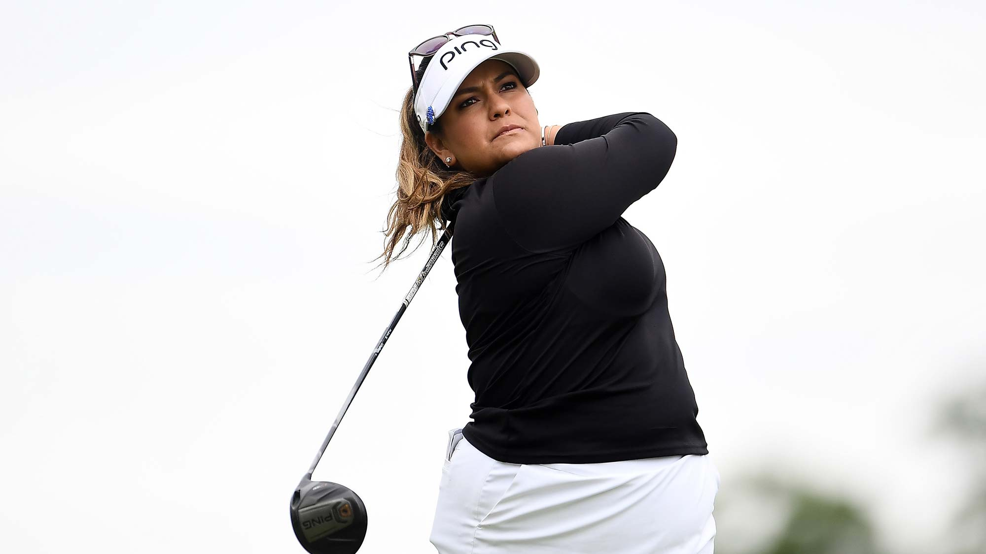 Lizette Salas hits her tee shot on the third hole during the third round of the KPMG PGA Championship