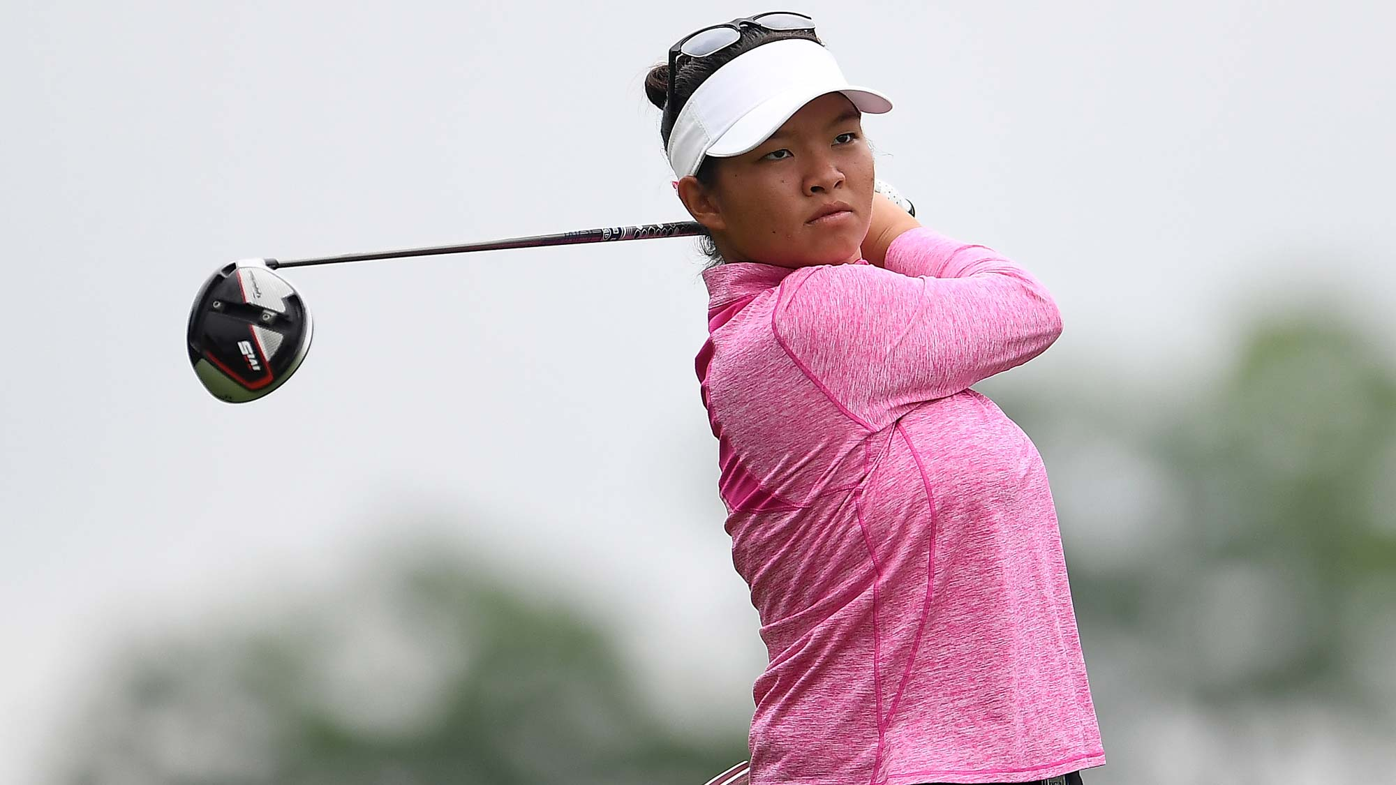Megan Khang hits her tee shot on the third hole during the final round of the KPMG PGA Championship