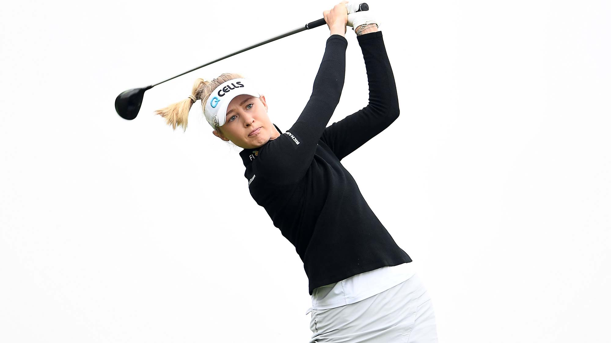 Nelly Korda hits her tee shot on the third hole during the final round of the KPMG PGA Championship