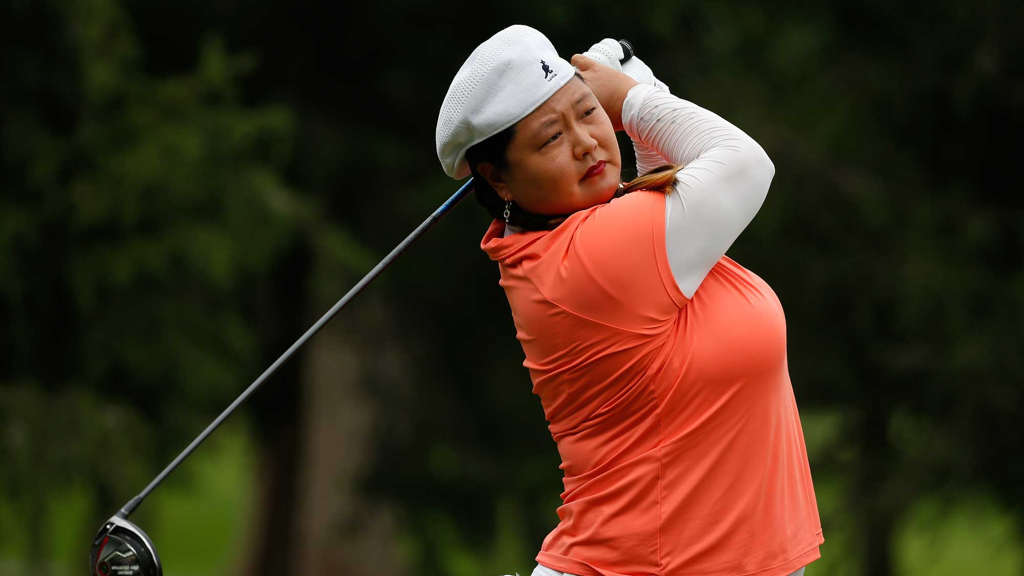 Christina Kim of the United States hits her tee shot on the second hole during the final round of the Lorena Ochoa Invitational Presented By Banamex at the ...