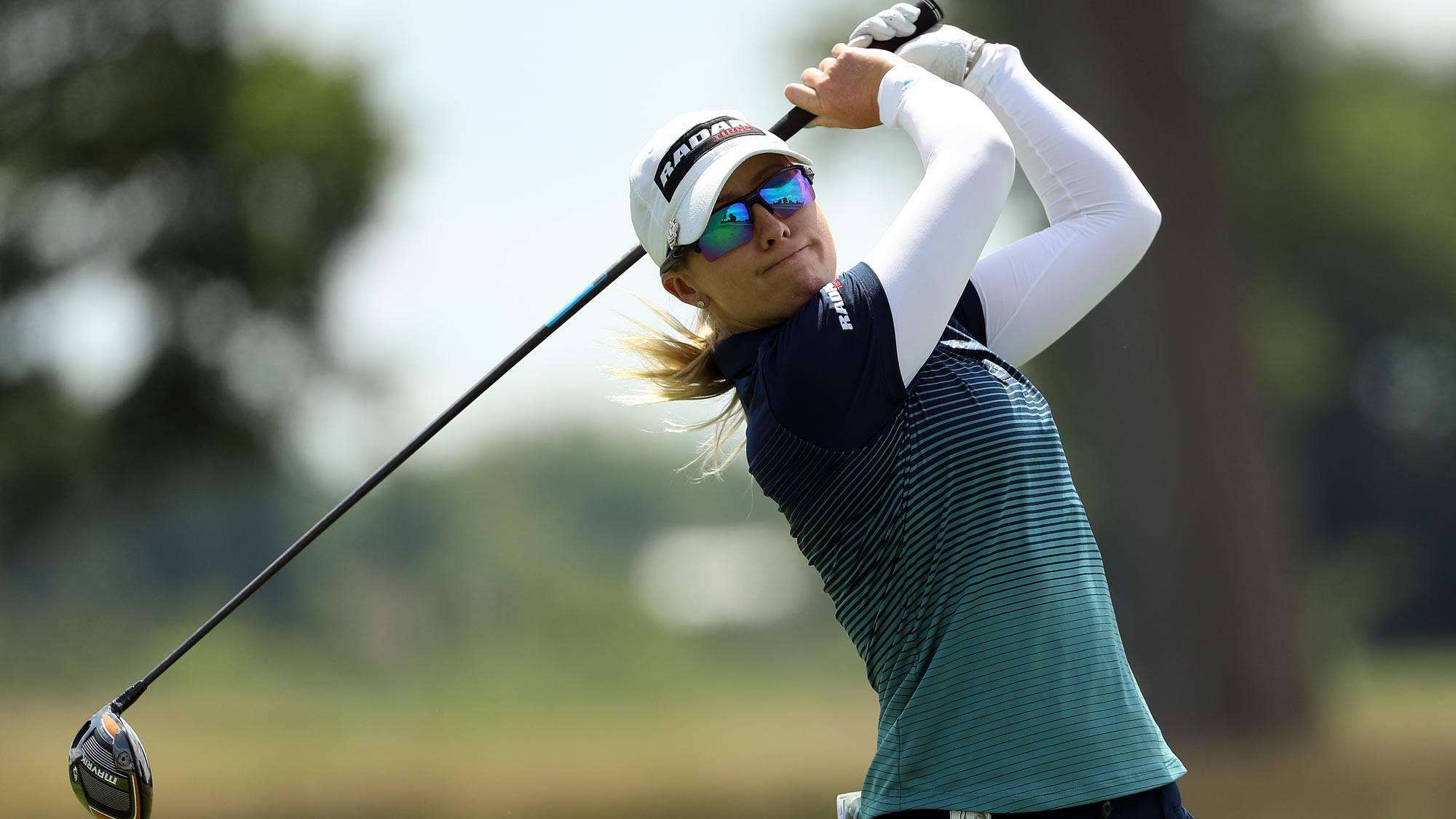 Jodi Ewart Shadoff of England plays her shot from the 17th tee during the first round of the LPGA Drive On Championship