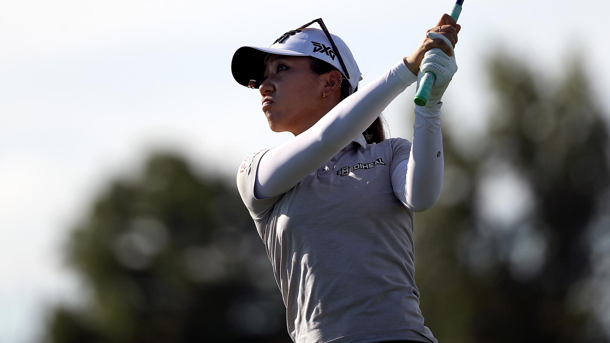 Lydia Ko of New Zealand plays her shot from the 15th tee during the first round of the LPGA Drive On Championship