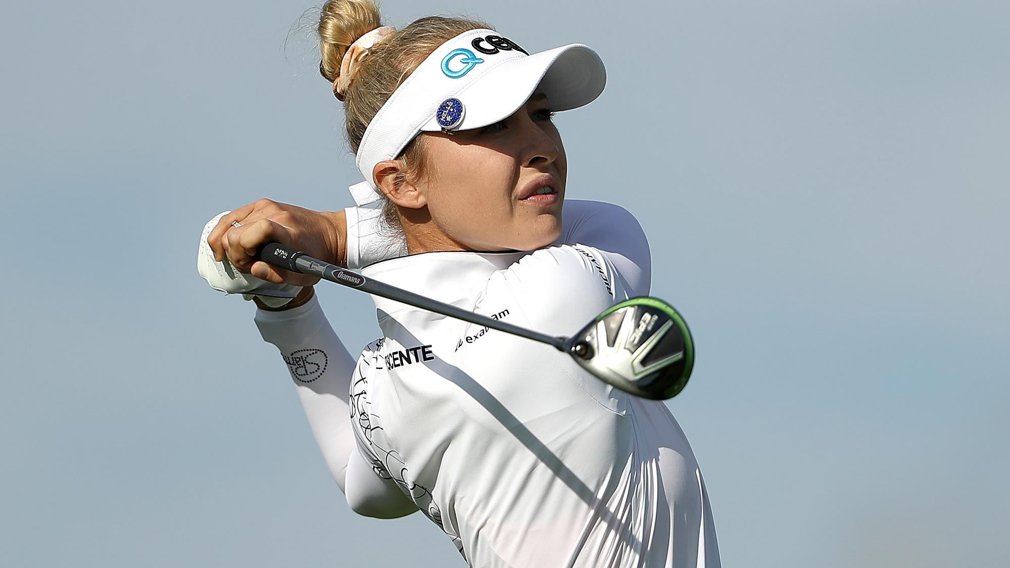 Nelly Korda plays her shot from the 15th tee during the first round of the LPGA Drive On Championship