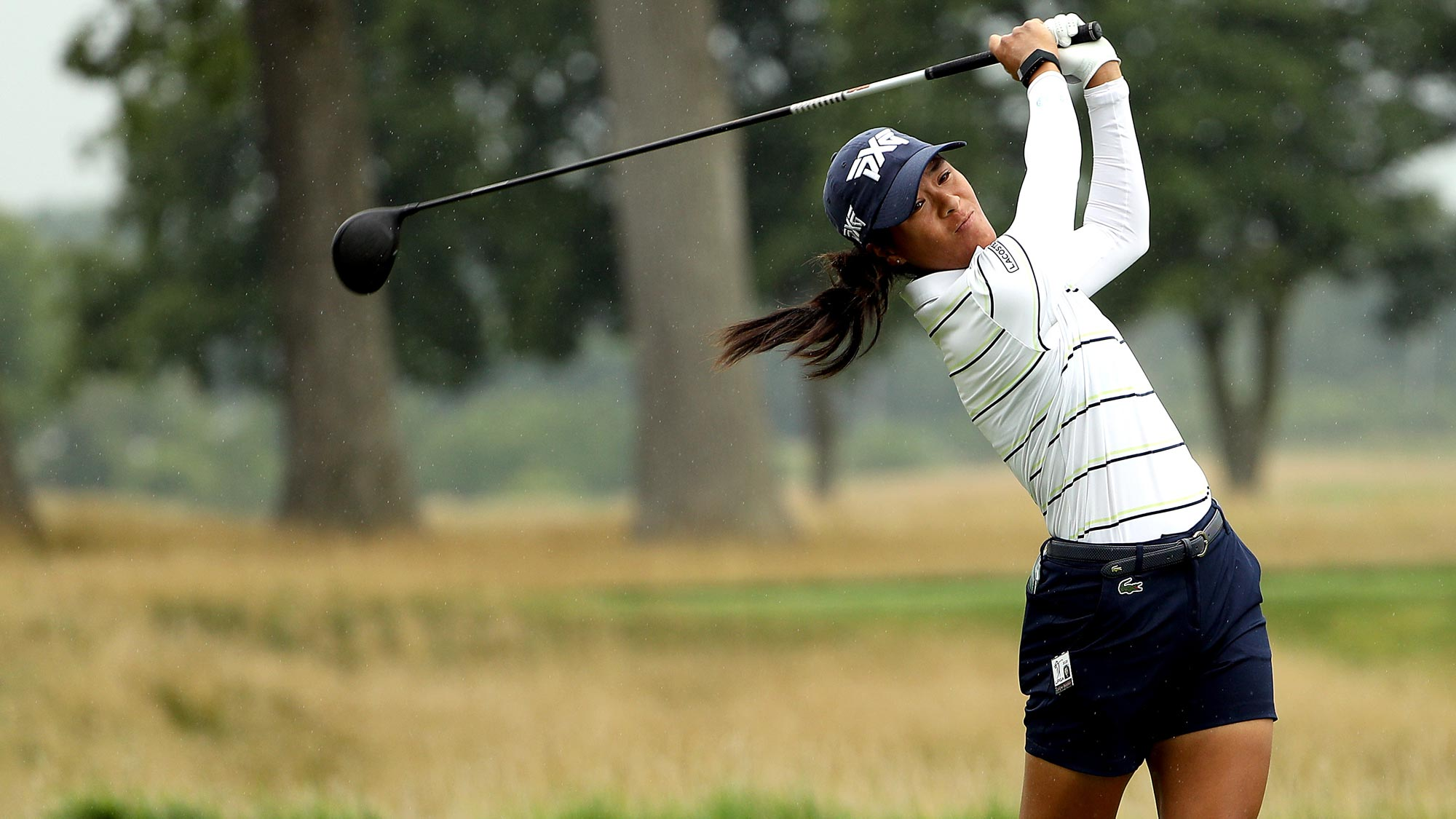 Celine Boutier of France plays her shot from the 17th tee during the second round of the LPGA Drive On Championship