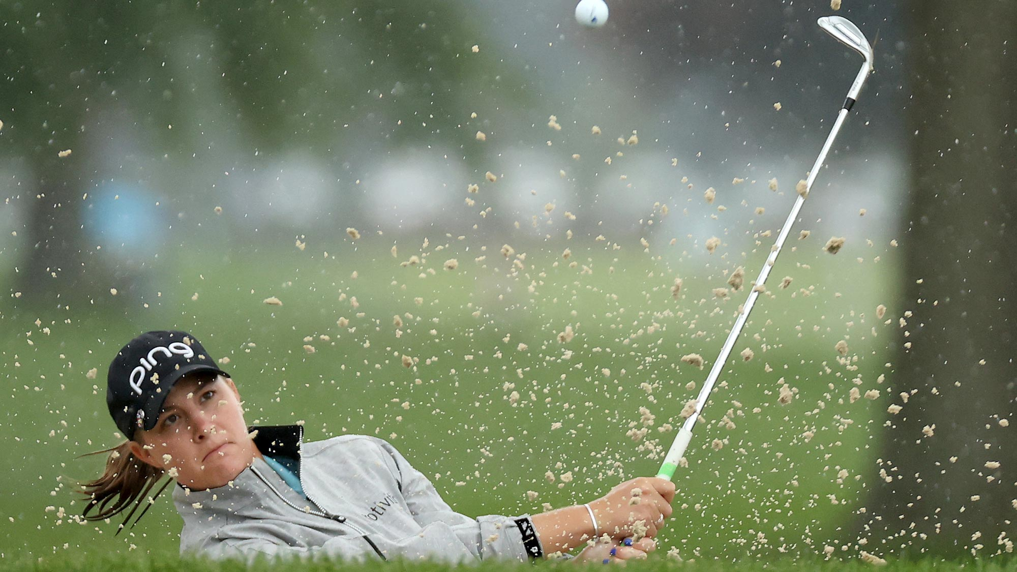 Jennifer Kupcho plays a shot from a bunker on the second hole during the second round of the LPGA Drive On Championship