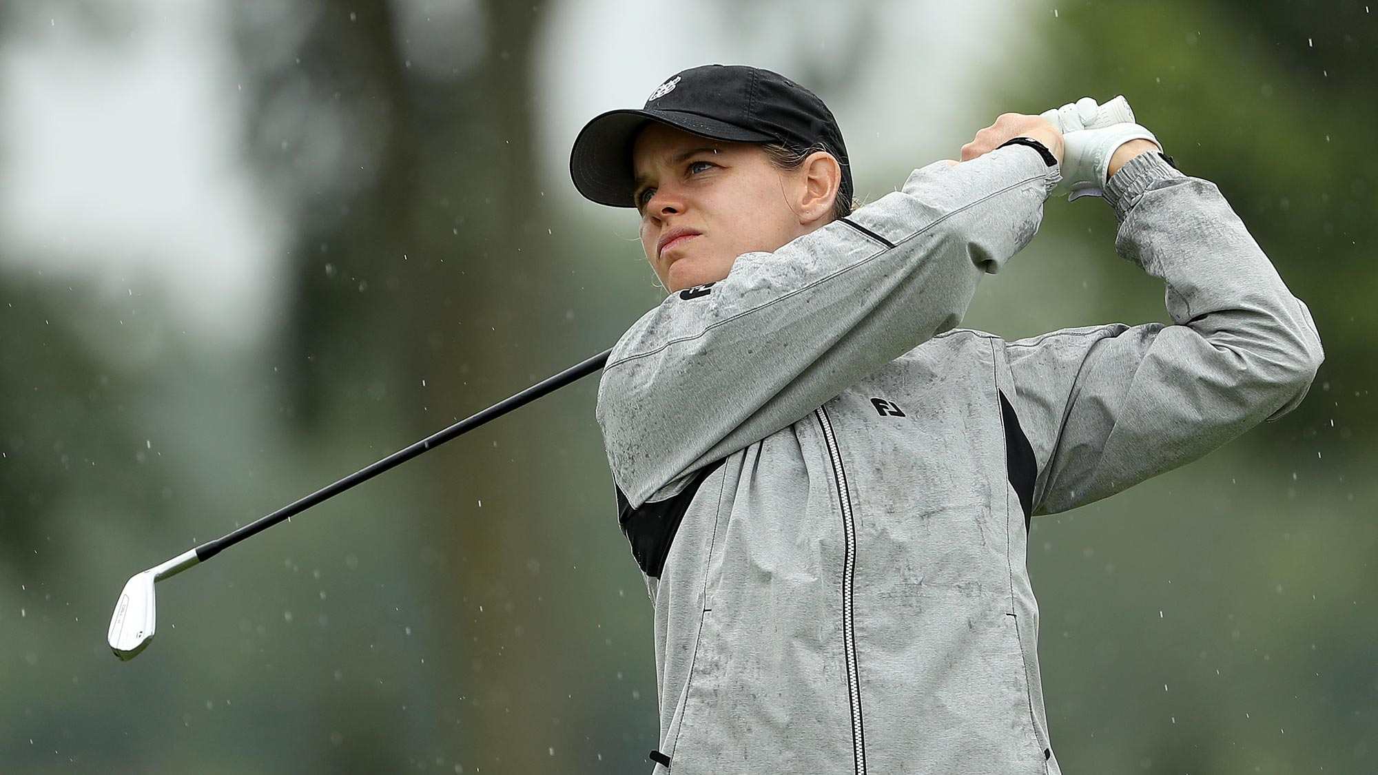 Sarah Schmelzel plays her shot on the fifth hole during the second round of the LPGA Drive On Championship