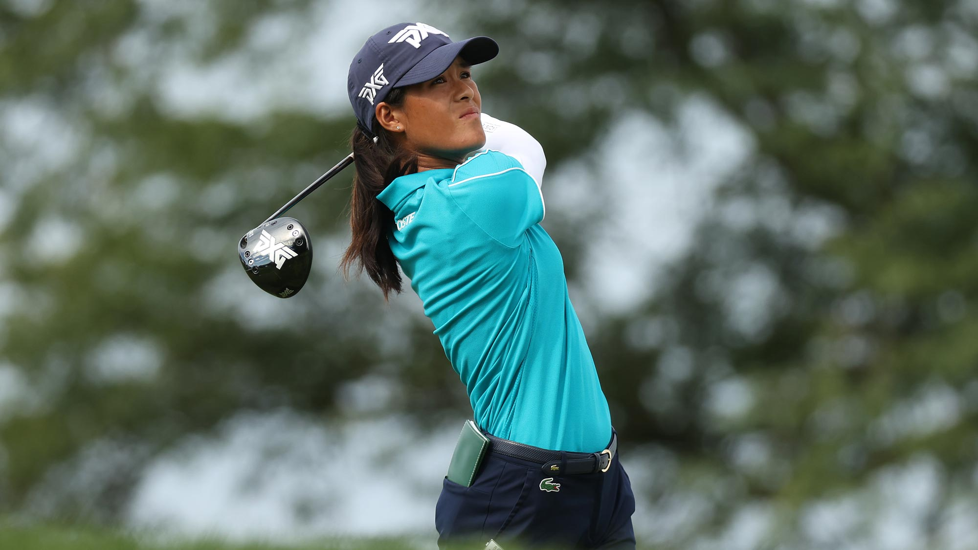 Celine Boutier of France plays her shot from the 14th tee during the final round of the LPGA Drive On Championship