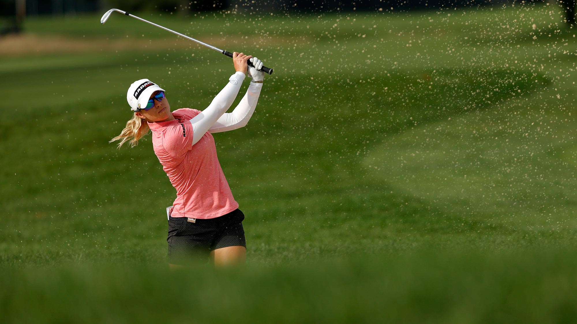 Jodi Ewart Shadoff of England plays a shot from a bunker on the 14th hole during the final round of the LPGA Drive On Championship