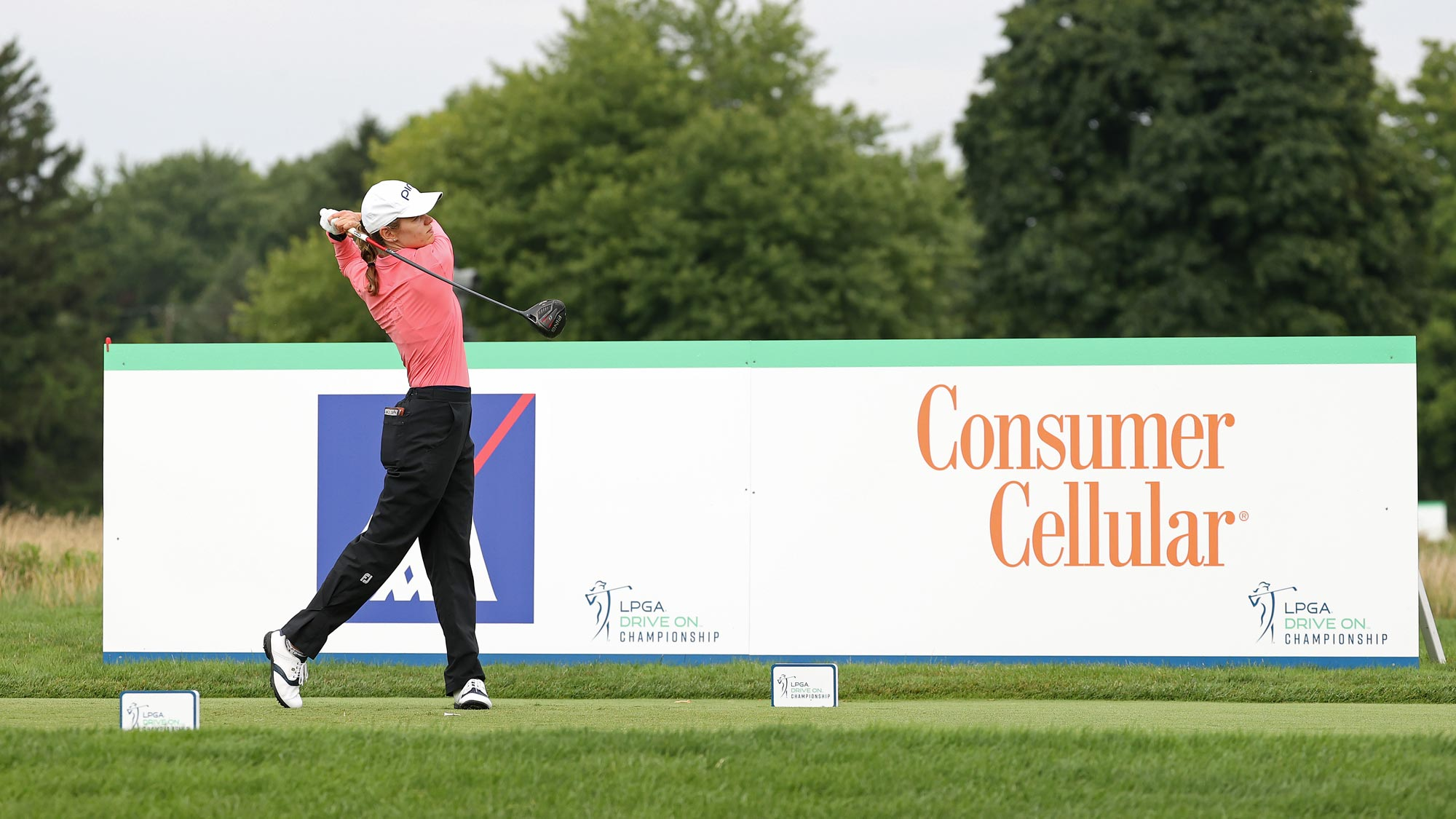 Sarah Schmelzel plays her shot from the 14th tee during the final round of the LPGA Drive On Championship