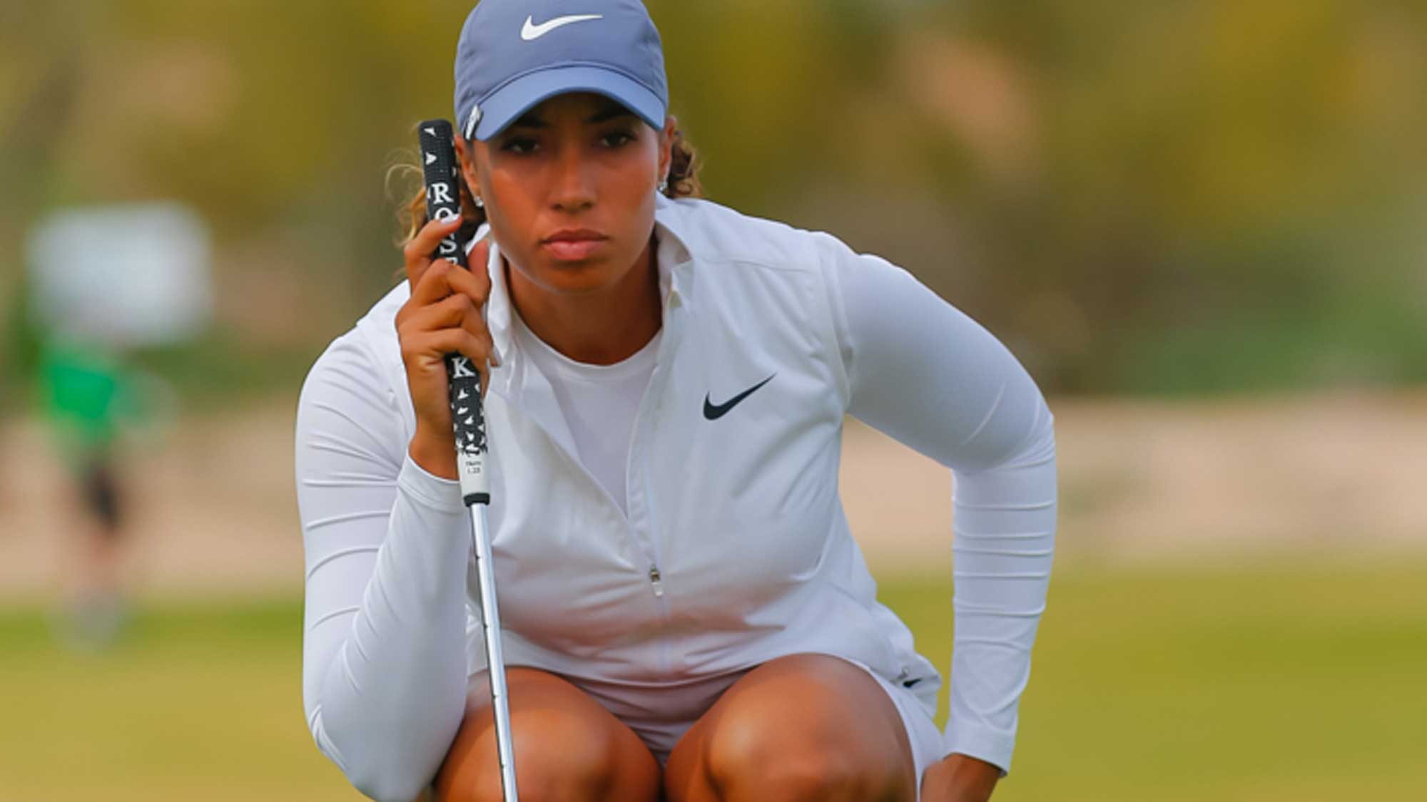 Cheyenne Woods Reading a Putt at the Founders Cup