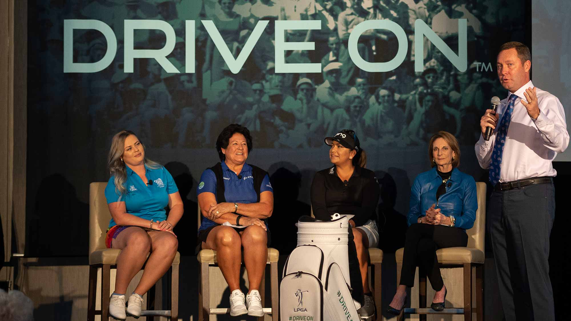 LPGA Commissioner Michael Whan speaks during the LPGA Announcement of new brand positioning encouraging girls to #DriveOn at JW Marriott Phoenix Desert Ridge on March 20, 2019 in Phoenix, Arizona