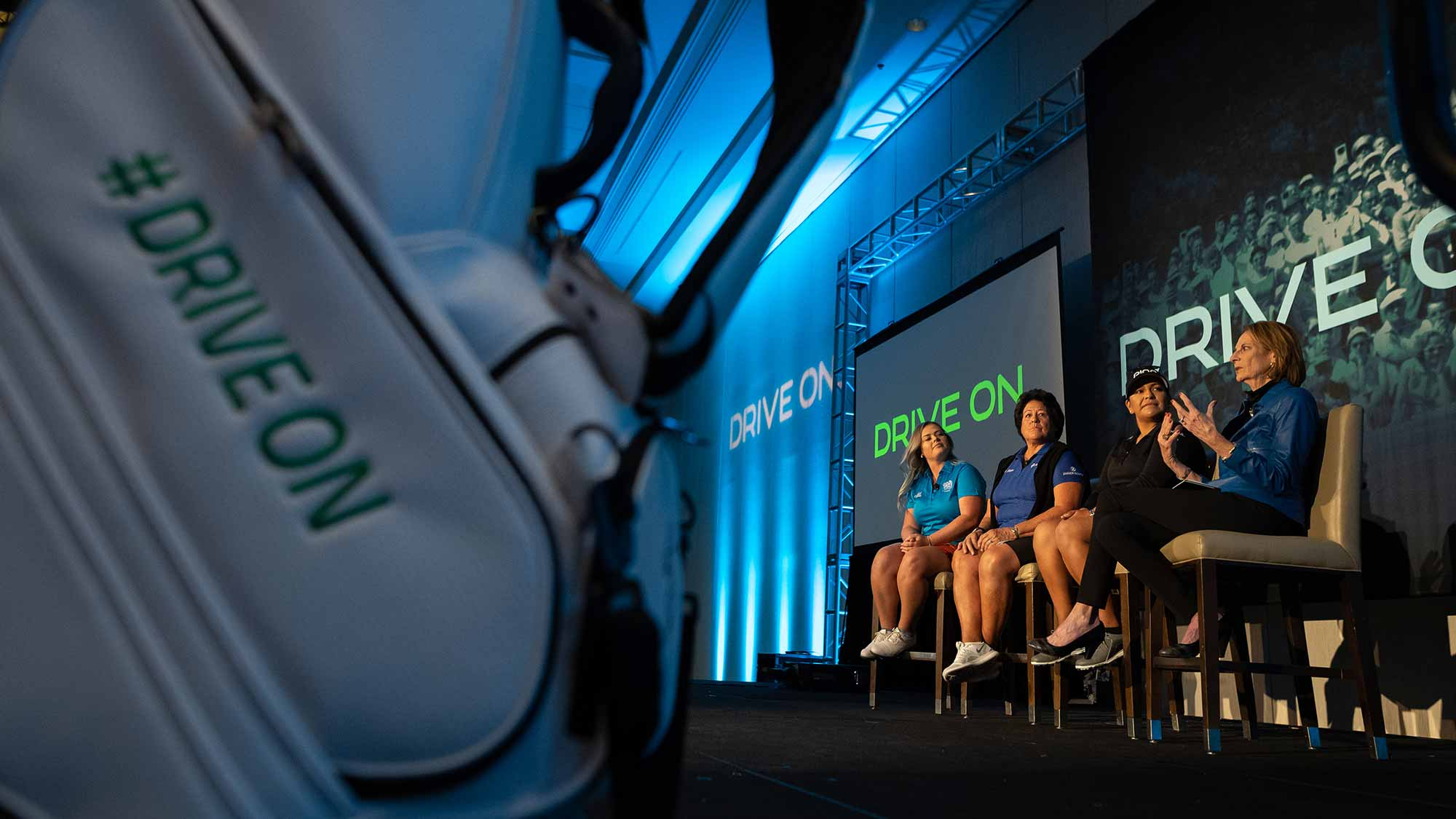 Stephanie Peareth, Nancy Lopez, Lizette Salas and Roberta Bowman speak during the LPGA Announcement of new brand positioning encouraging girls to #DriveOn at JW Marriott Phoenix Desert Ridge on March 20, 2019 in Phoenix, Arizona