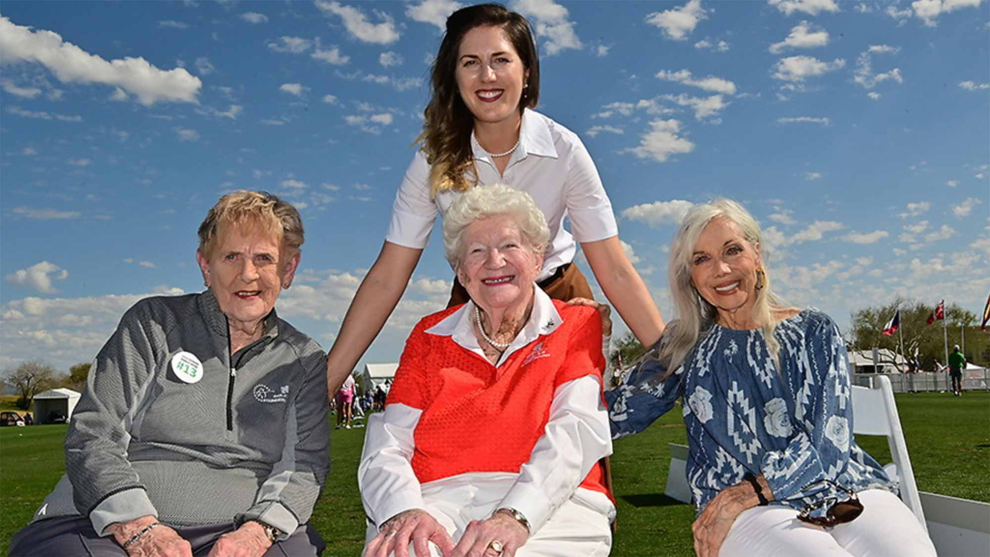 Sandra Gal poses with LPGA Founders Shirley Spork, Marilynn Smith and Marlene Bauer Hagge during the 2019 Bank of Hope Founders Cup